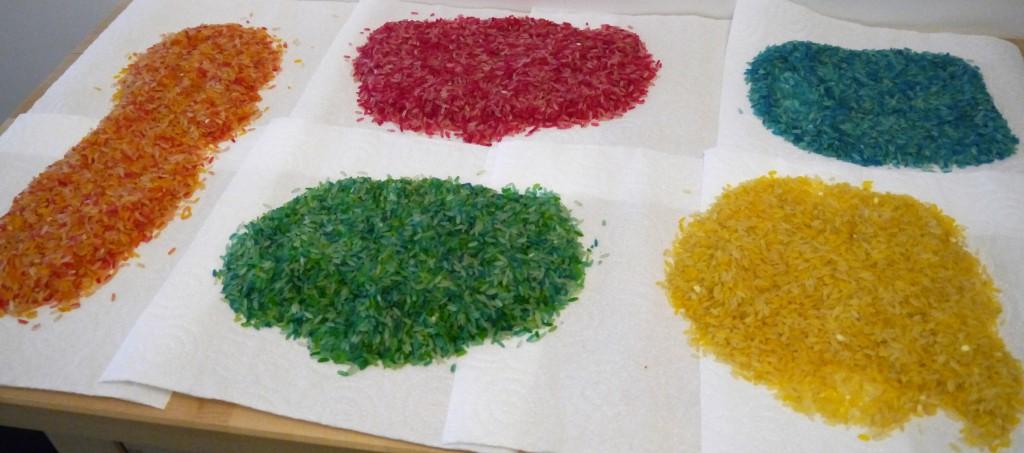 riz coloré séchage