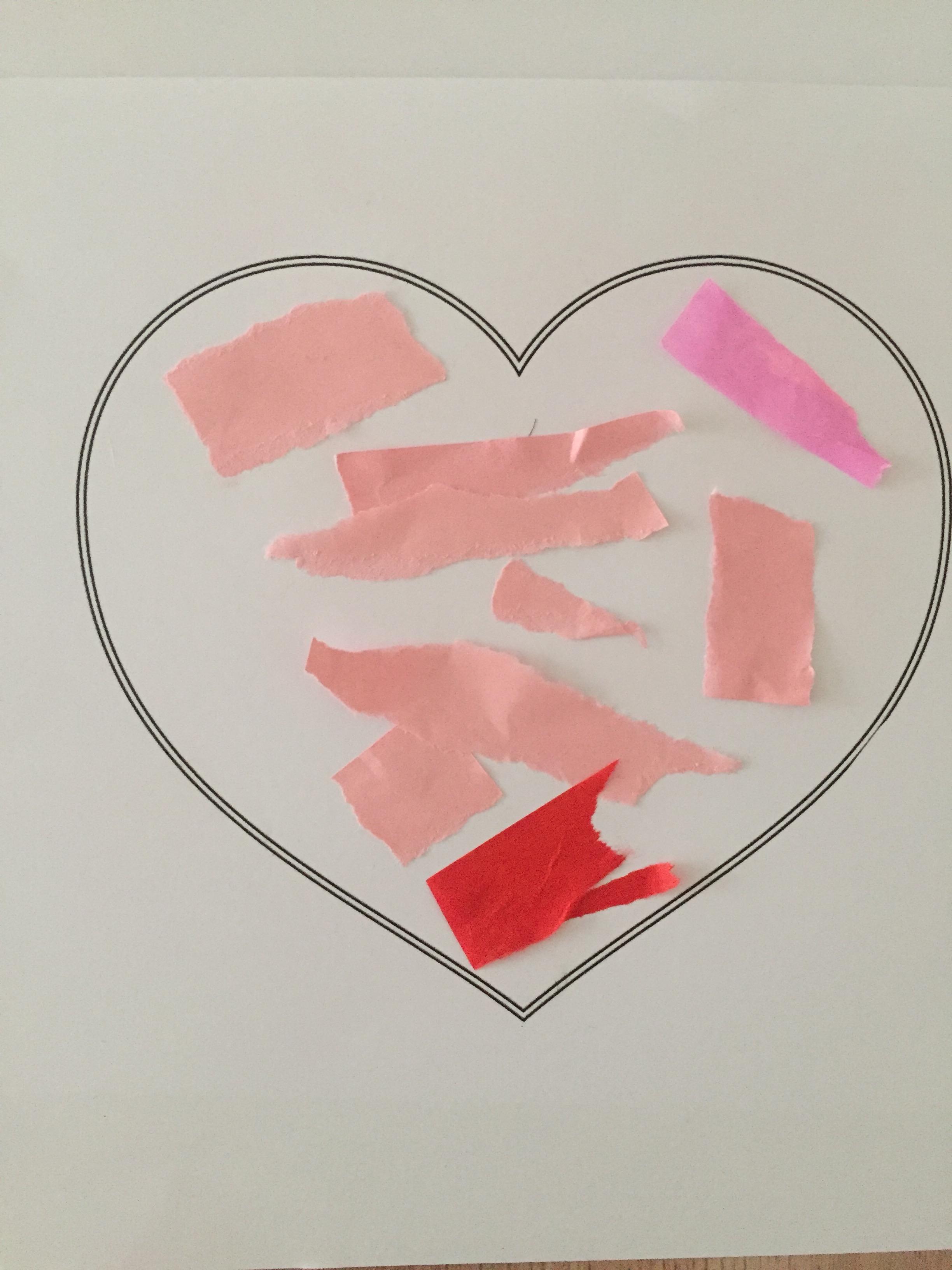 carte coeur fête déchirage collage
