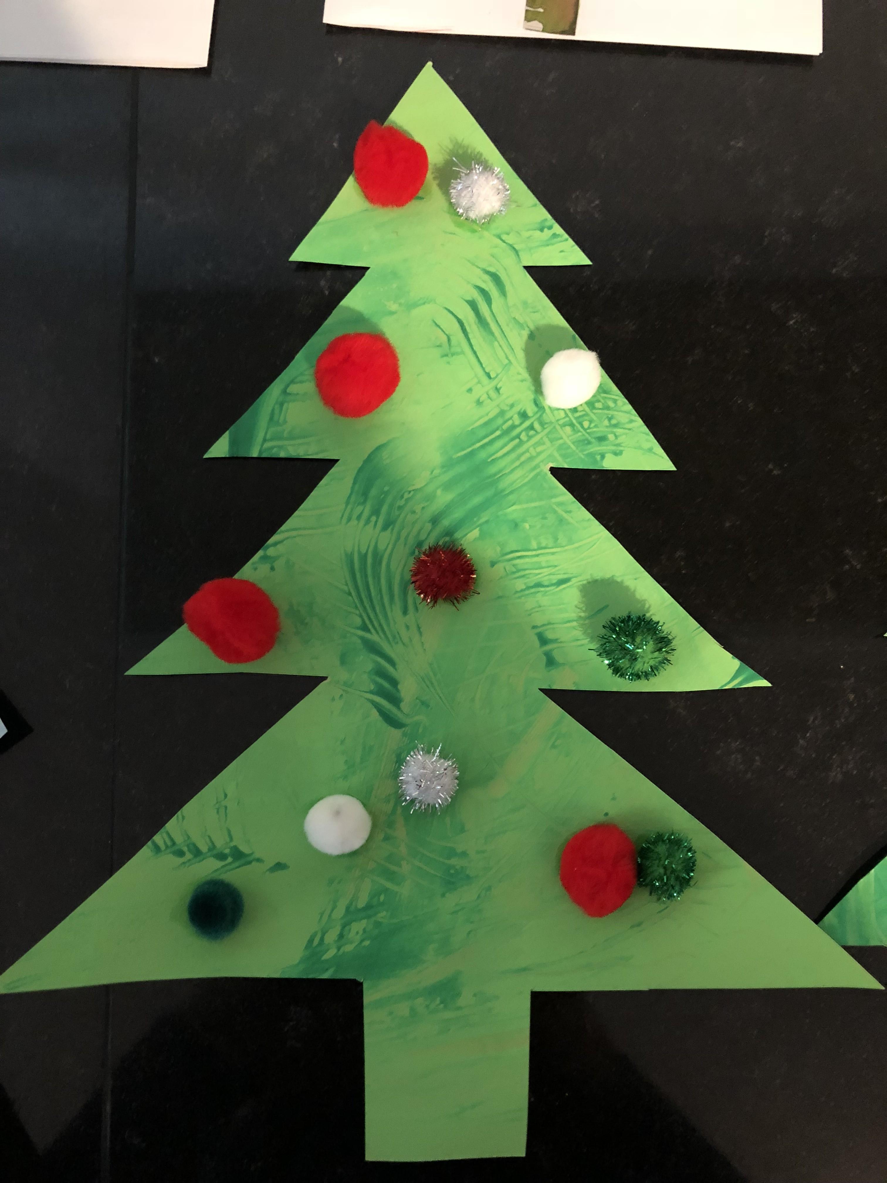 Peinture de Noel pompons