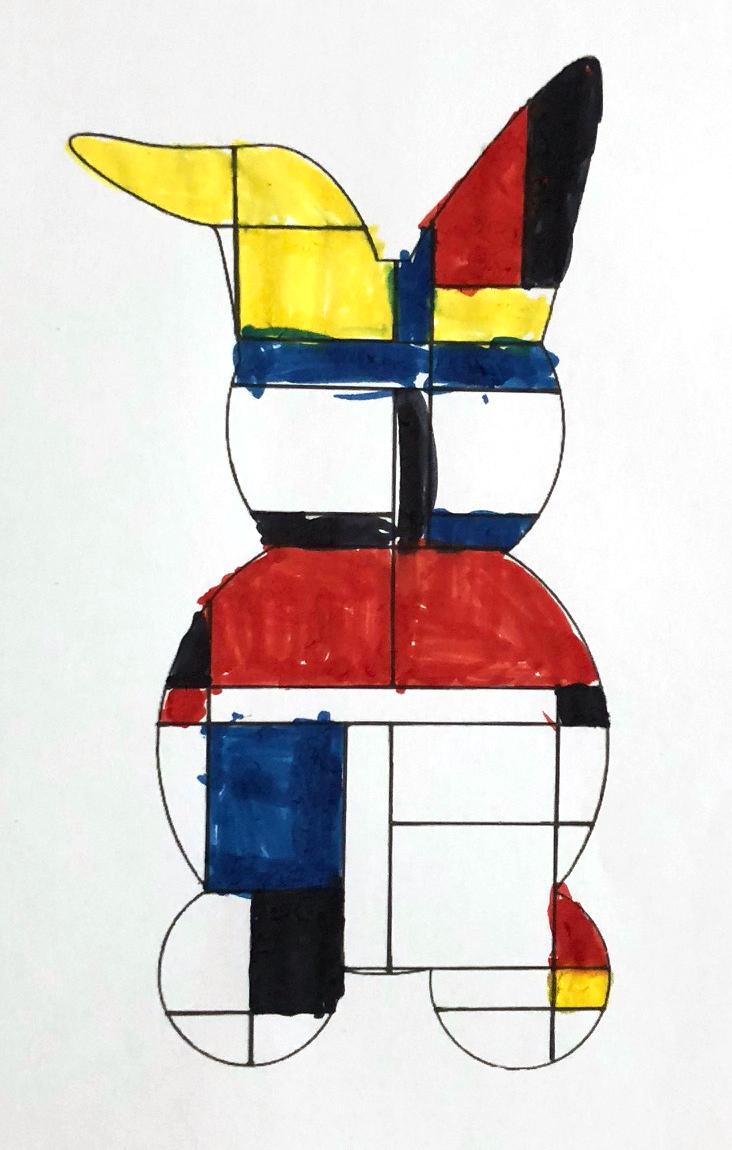 Mondrian enfant art  coloriage géométrie
