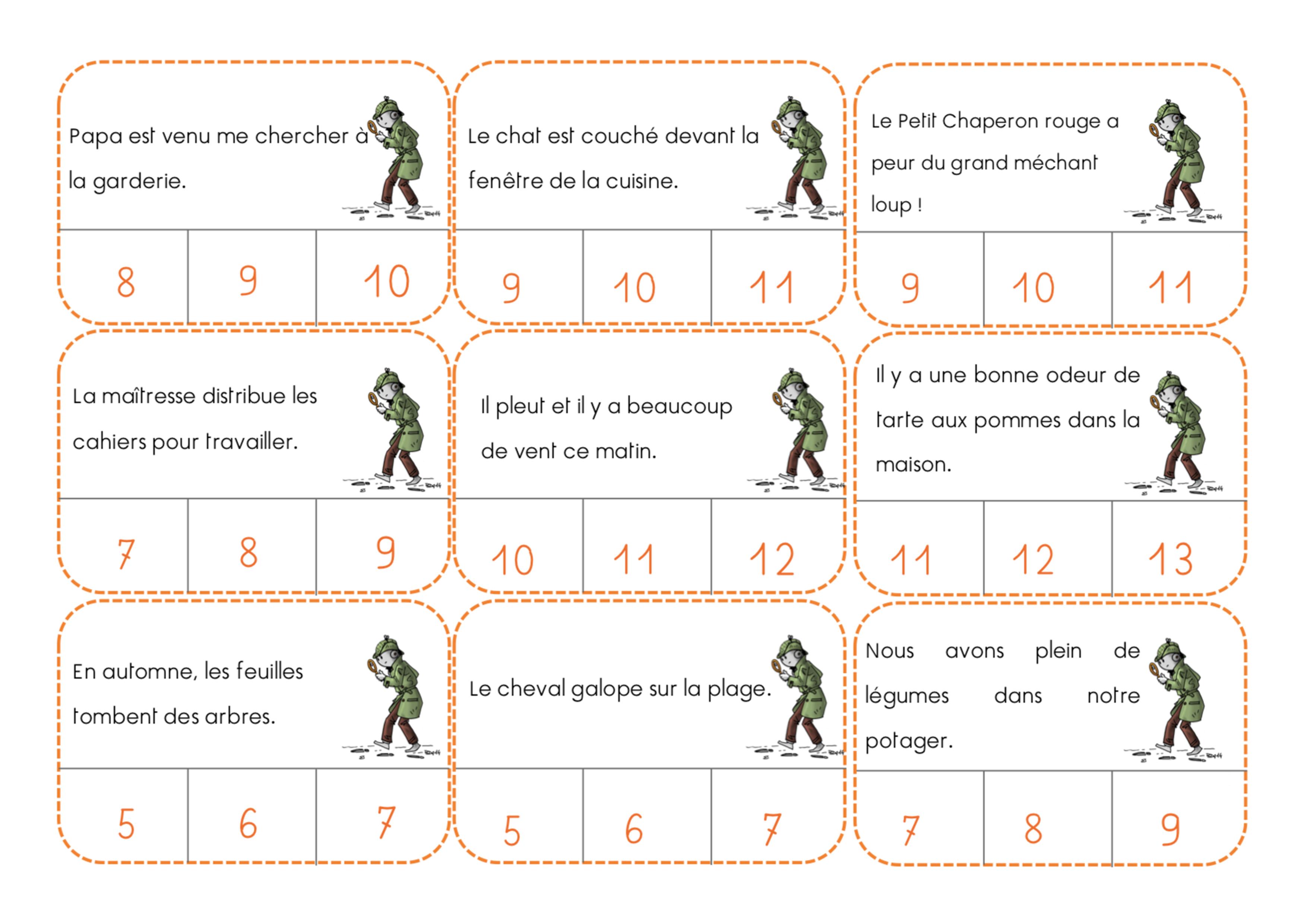 Exercices pour janvier nombre de mots ief maternelle