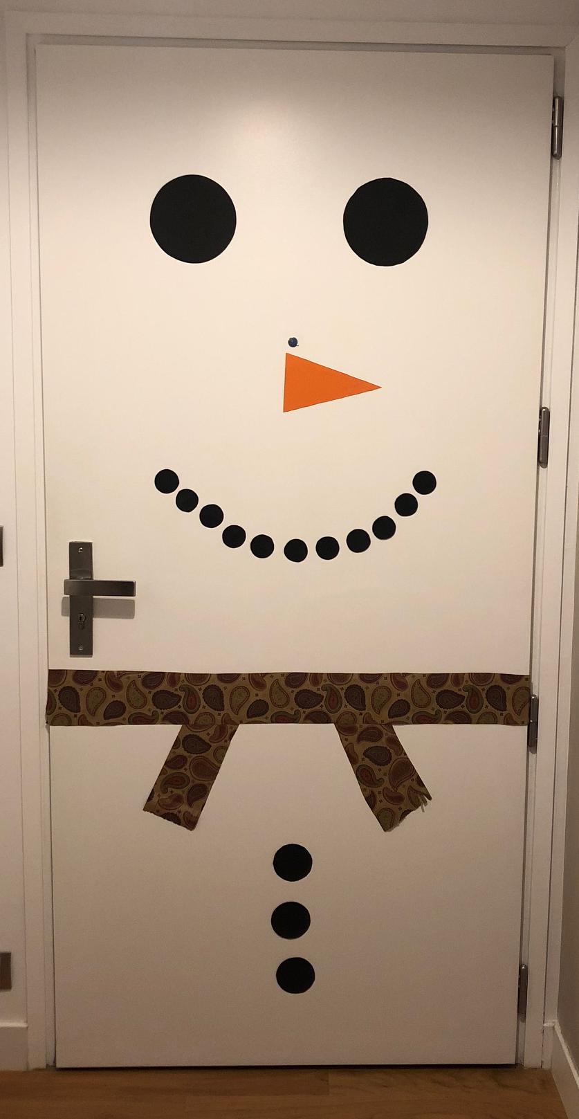 décoration noël bonhomme de neige porte