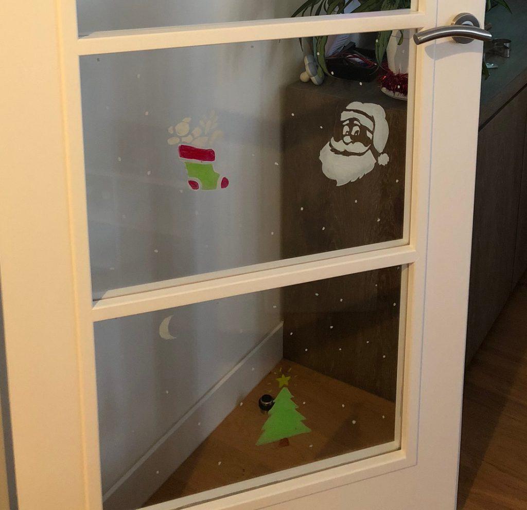 décoration noël porte intérieur miroir vitre