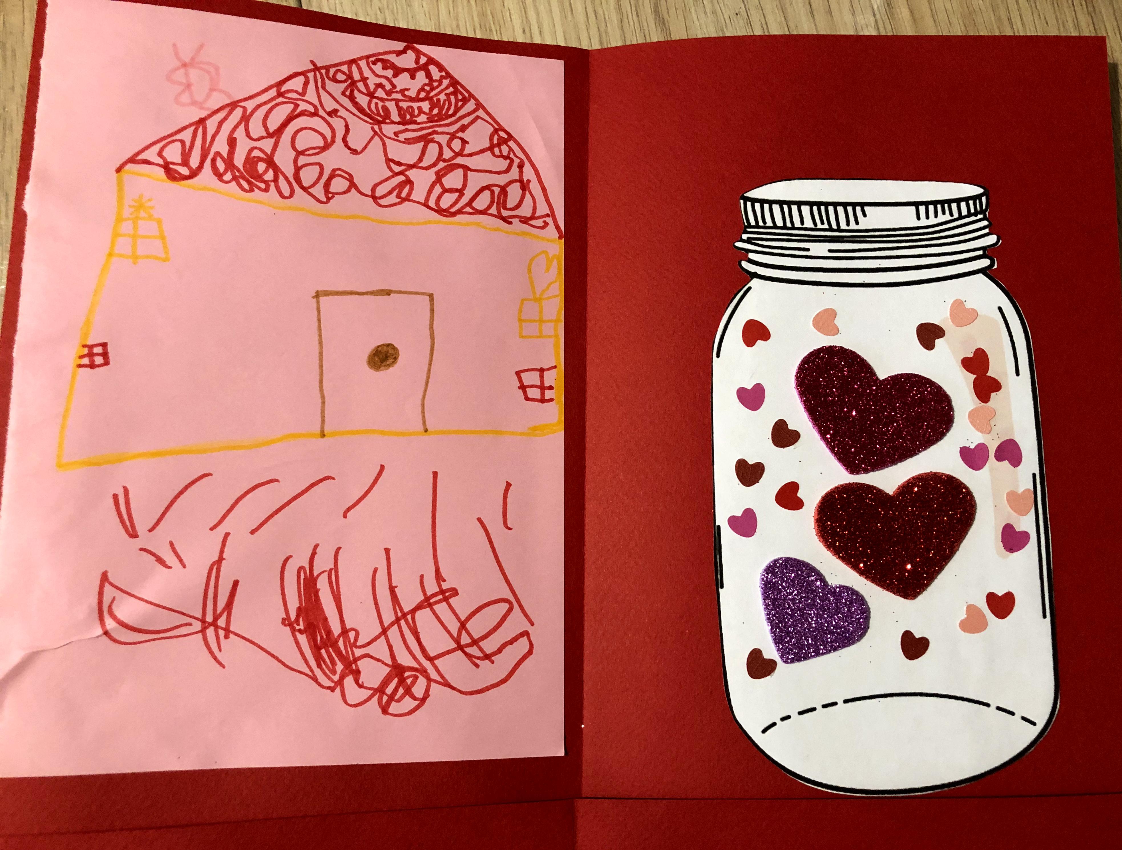 saint-valentin carte diy enfant bocal coeurs