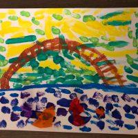 a la manière de Claude Monet nymphéas peinture enfant