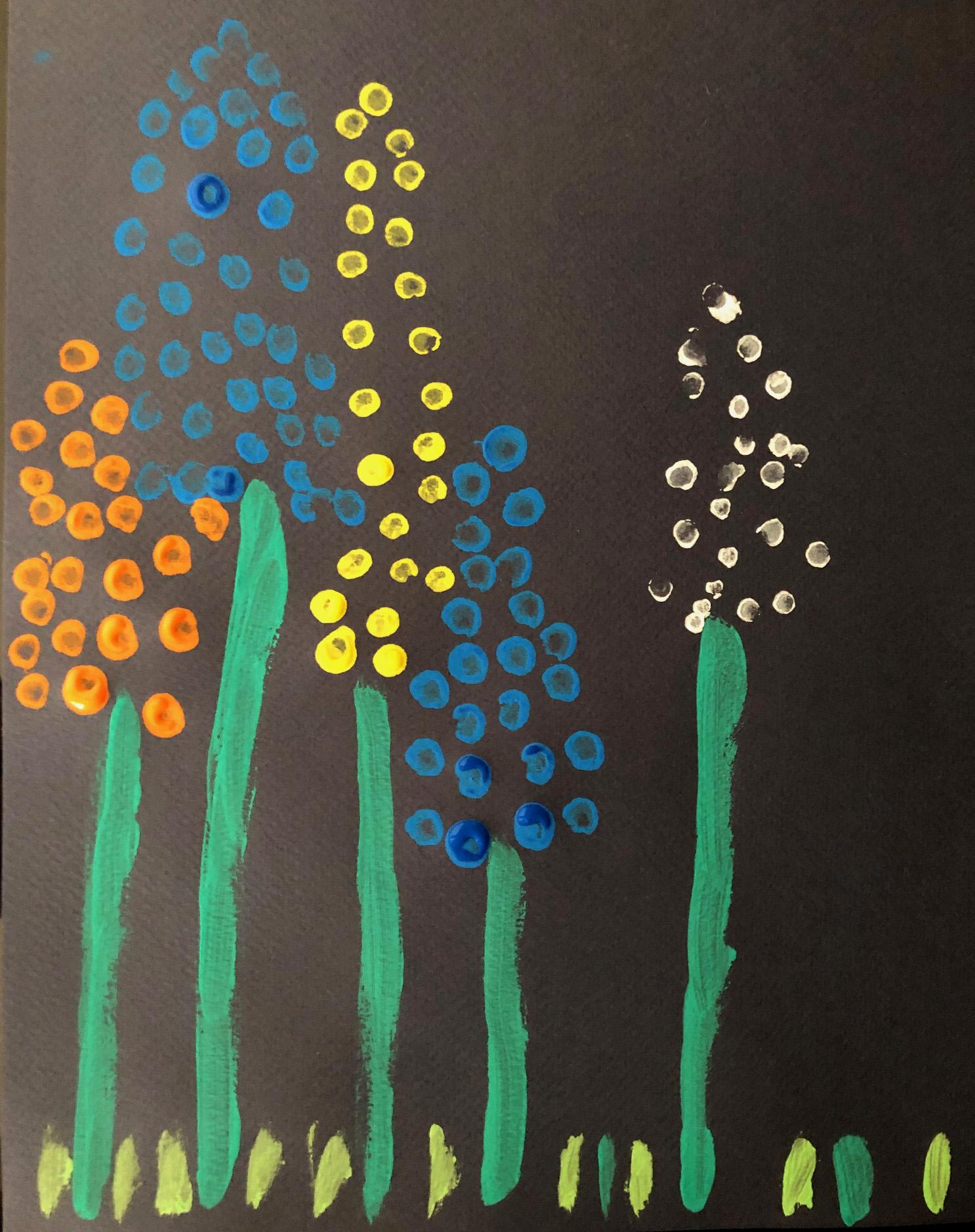 des fleurs en peinture activité enfant