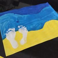 Tableau d'été pieds dans l'eau