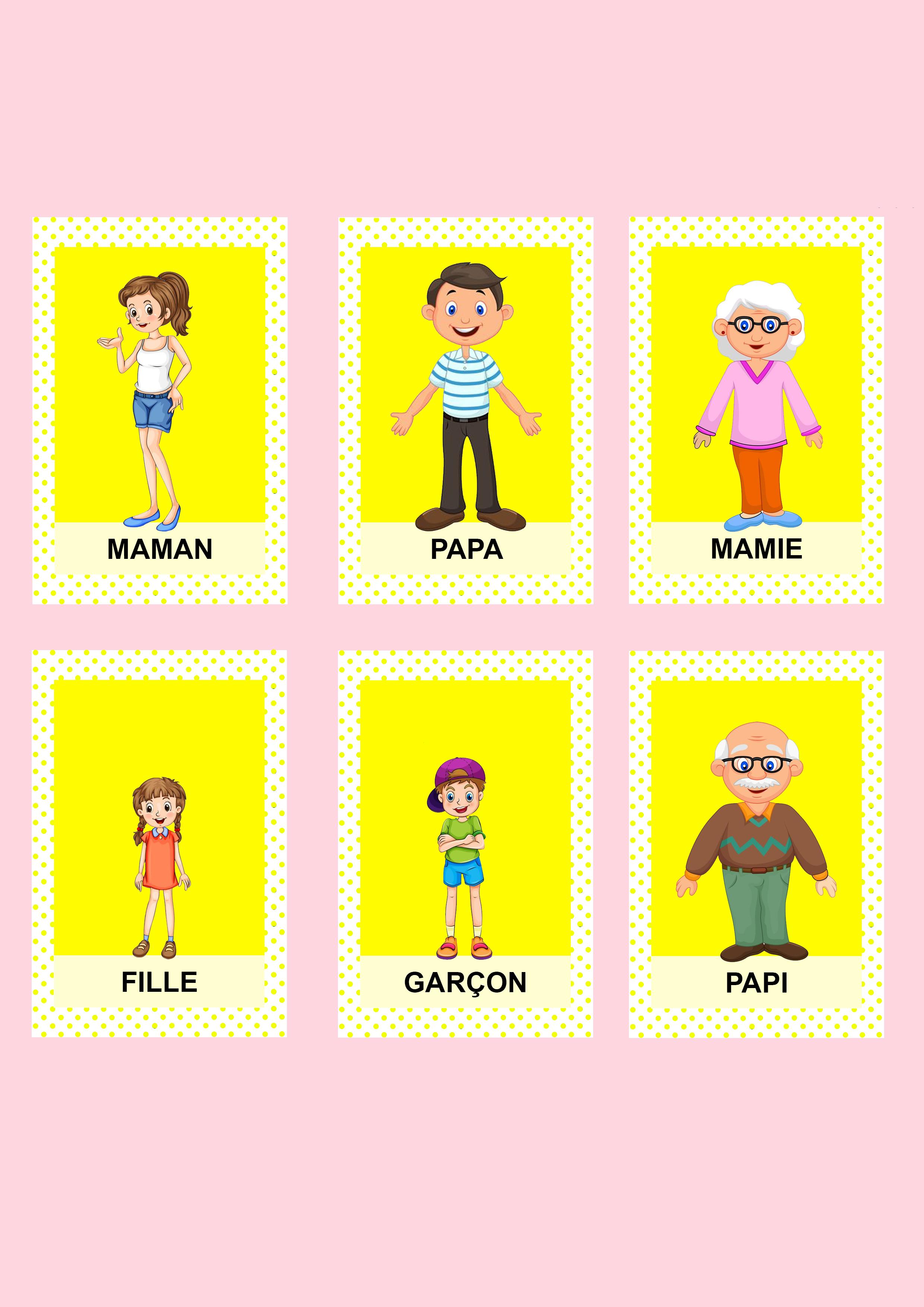 Jeu de 7 familles personnalisé diy jaune