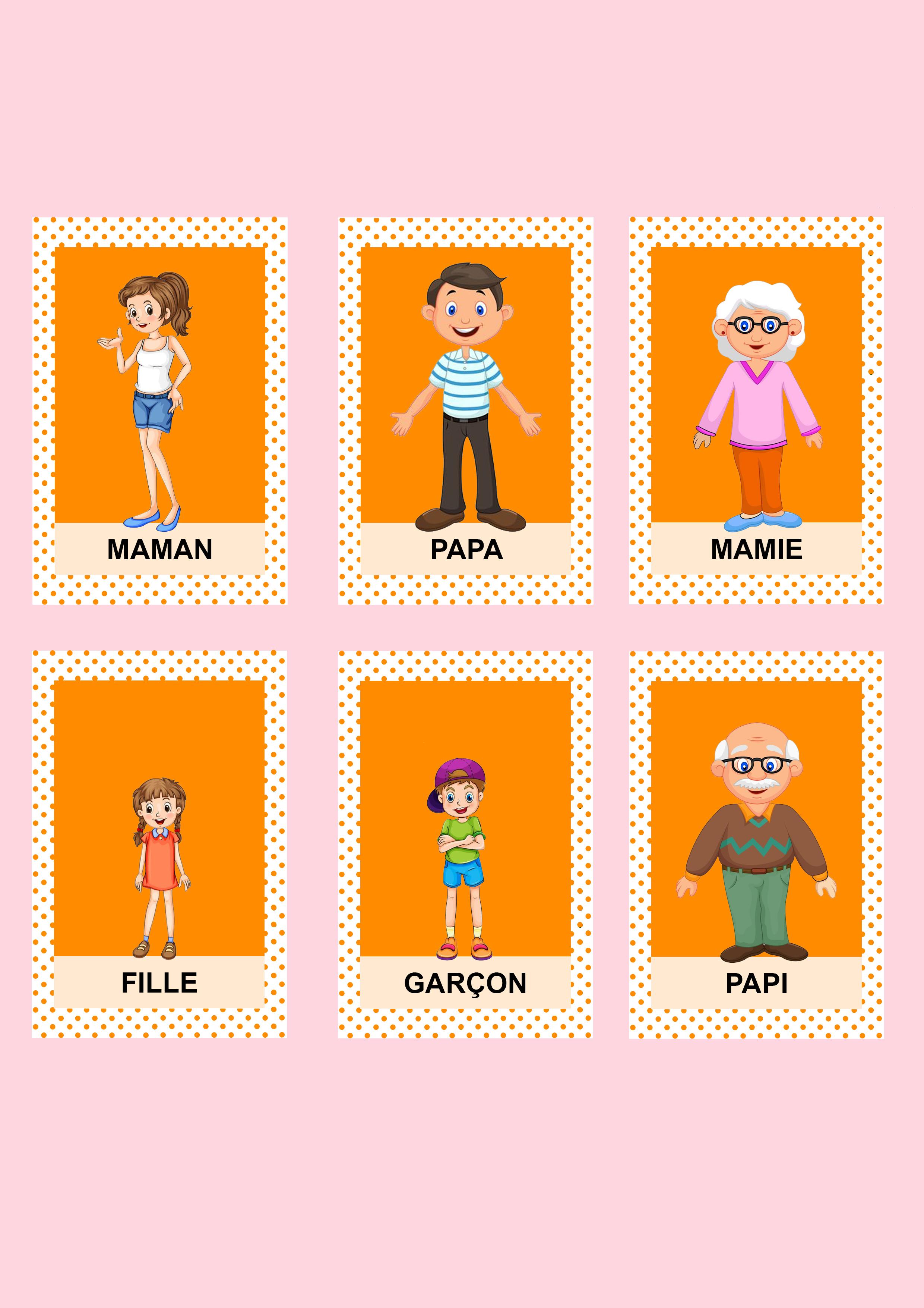 Jeu de 7 familles personnalisé diy orange