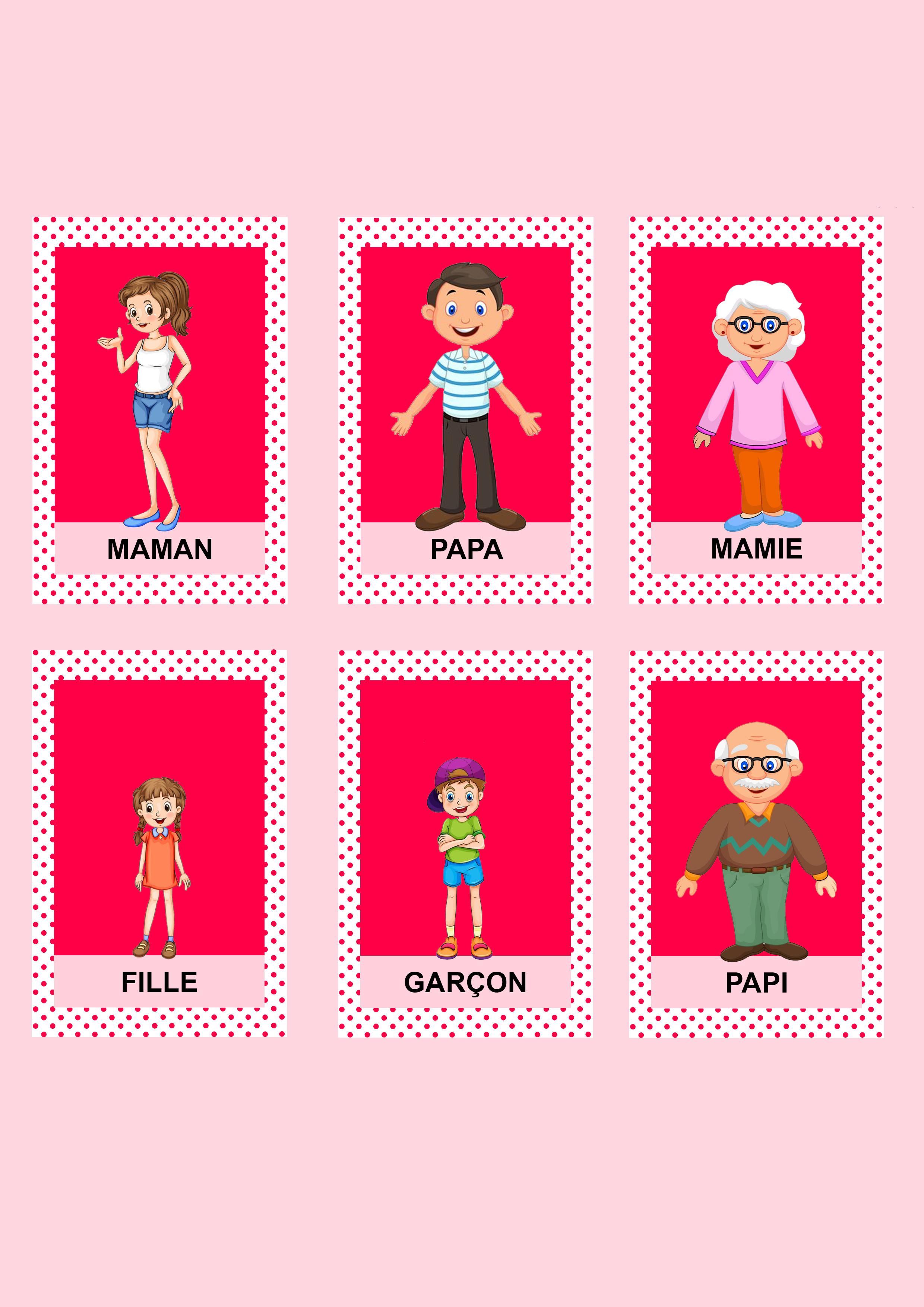 Jeu de 7 familles rouge personnages