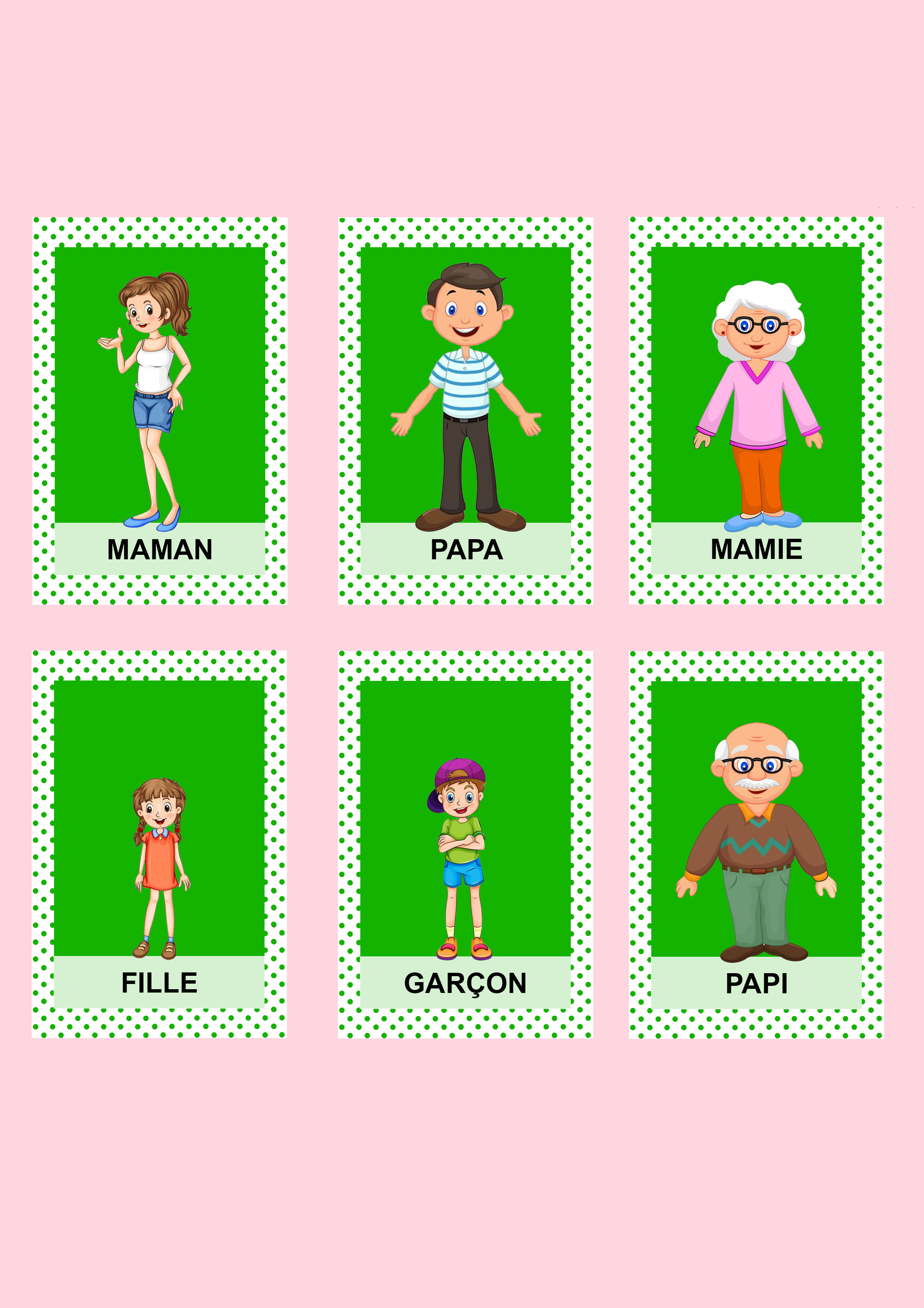 Jeu de 7 familles personnages couleurs