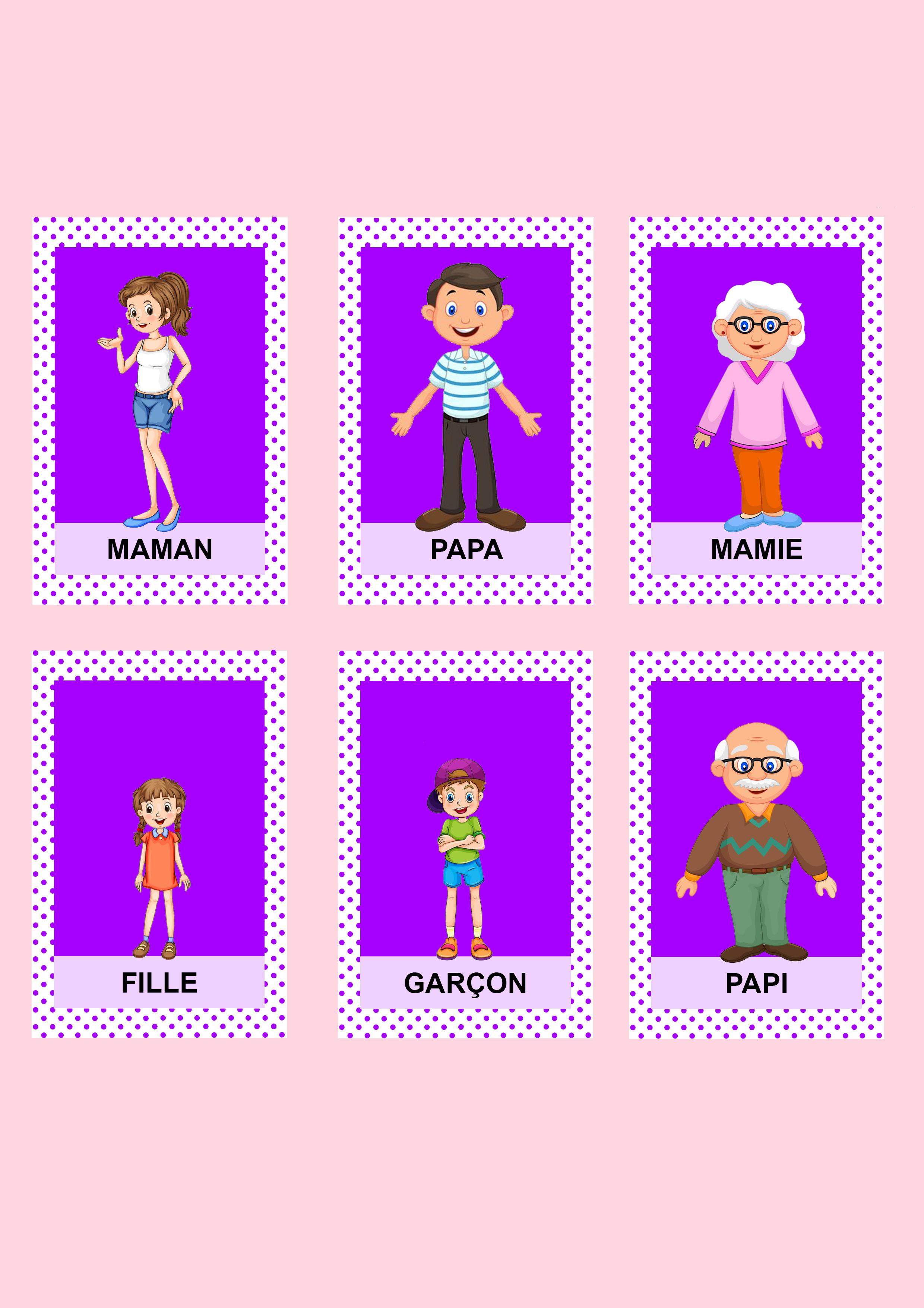 Jeu de 7 familles personnalisé couleurs diy