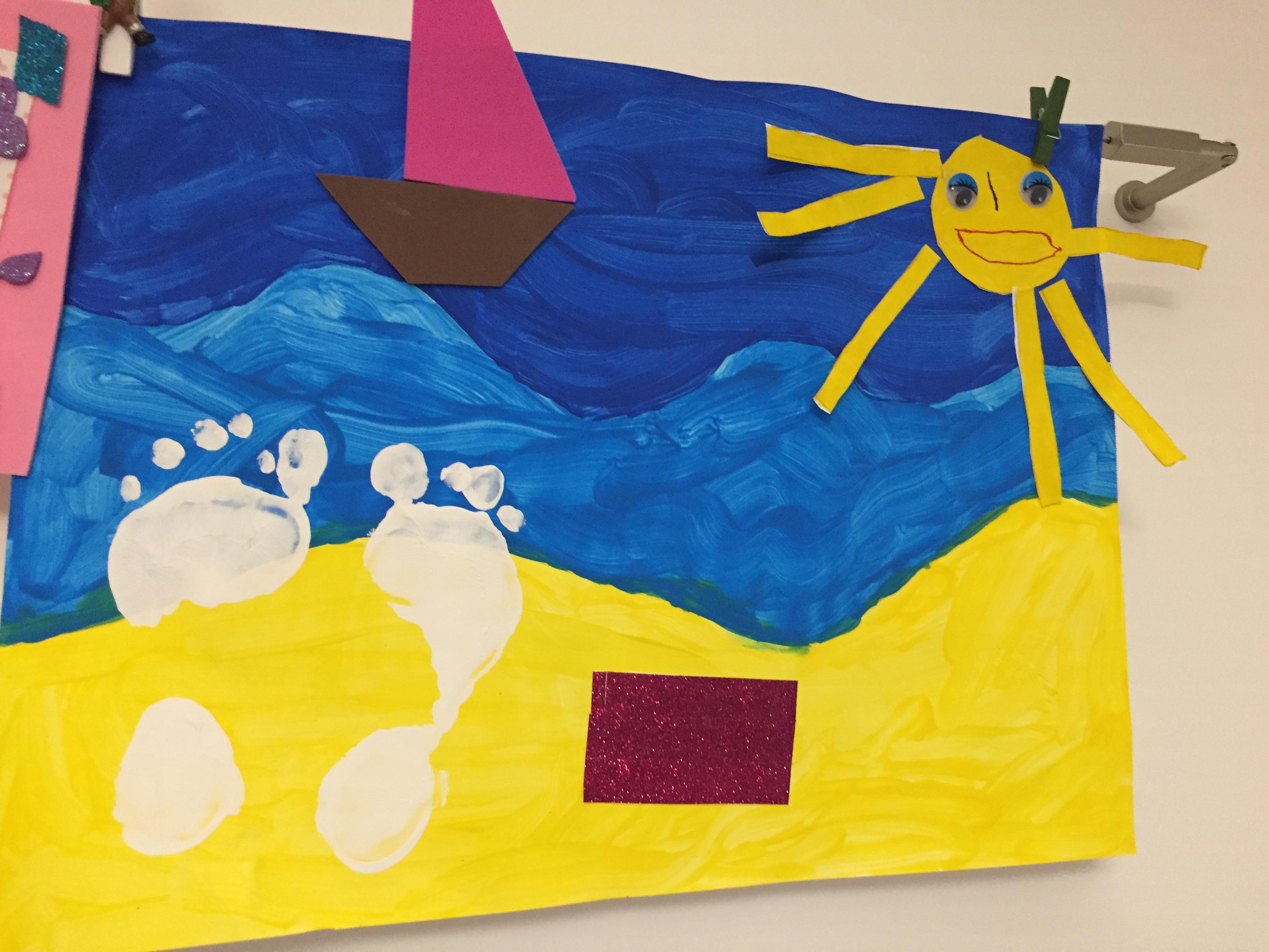 Tableau d'été peinture soleil sable plage
