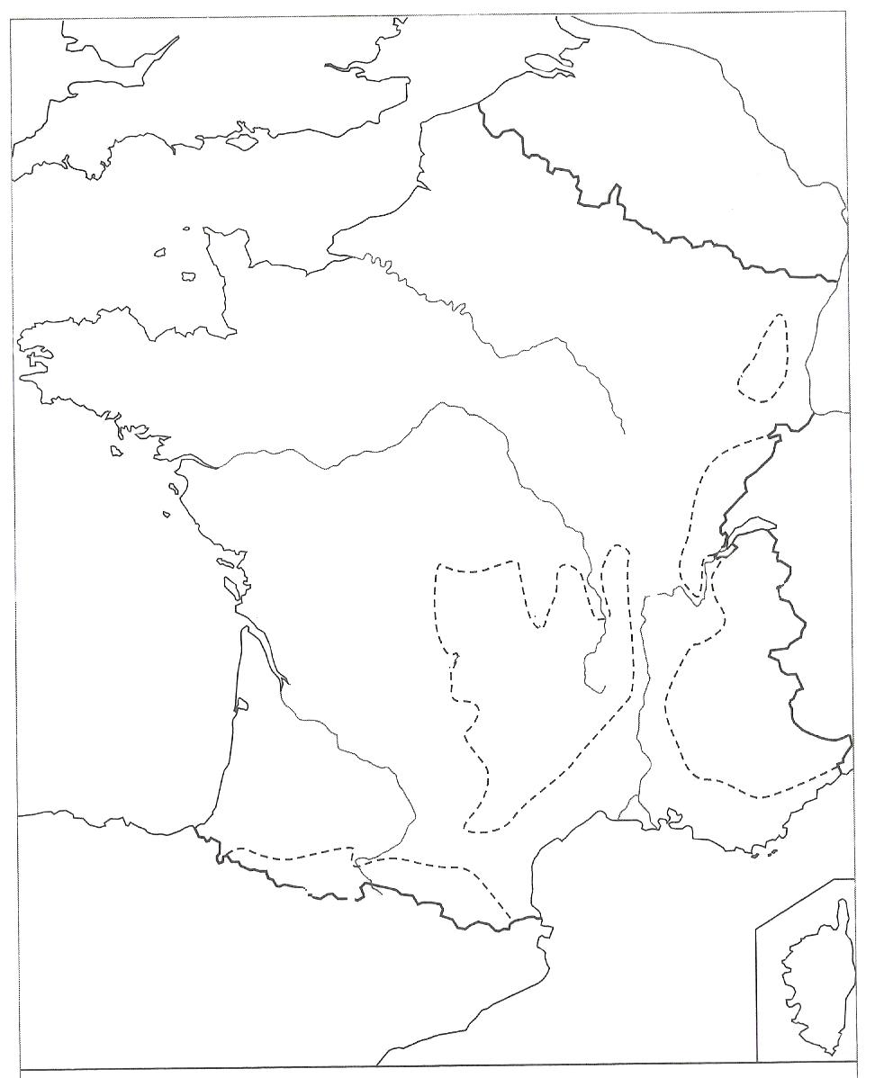 Carte de la France les reliefs montagnes fleuves