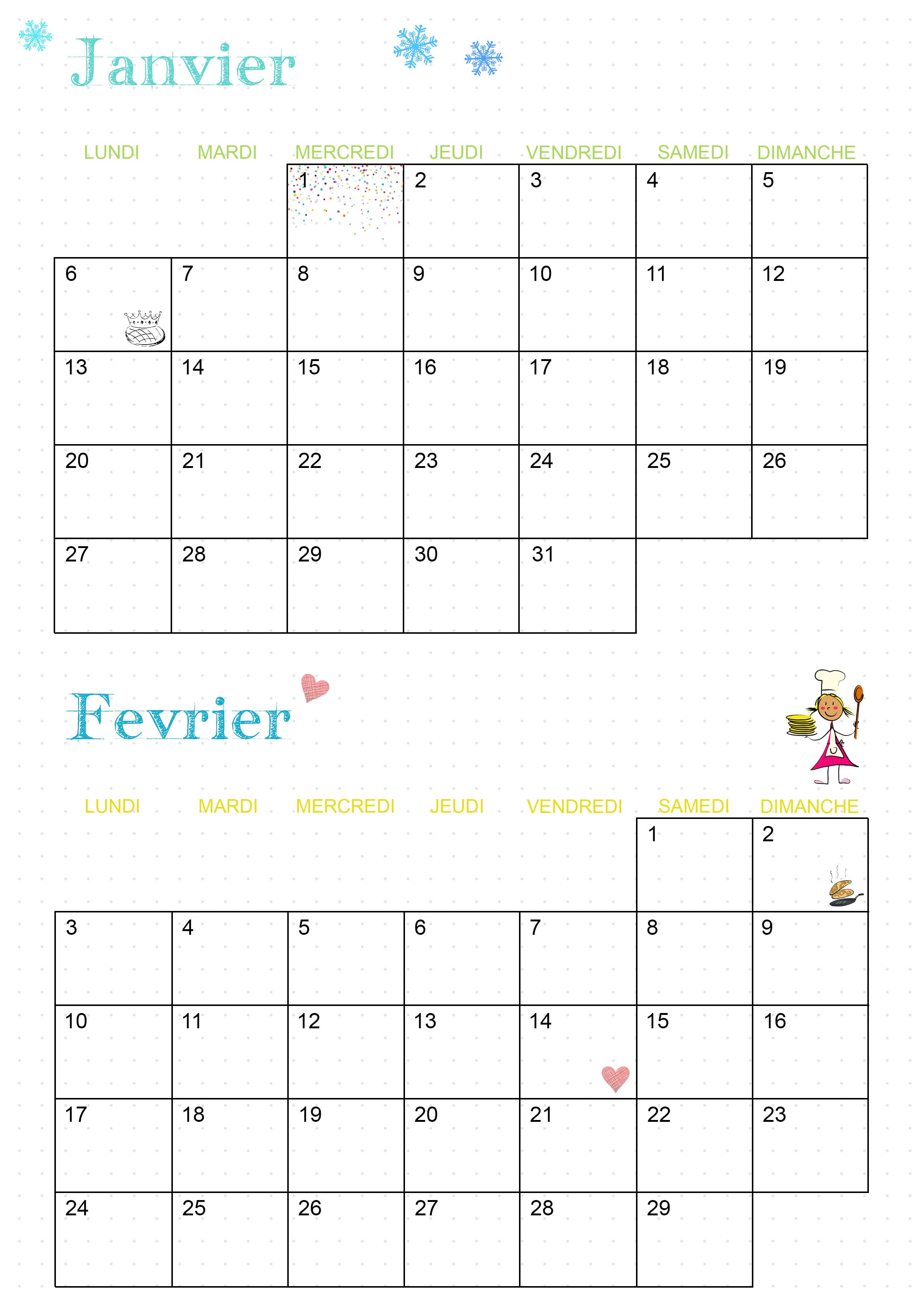 calendrier 2020 janvier février