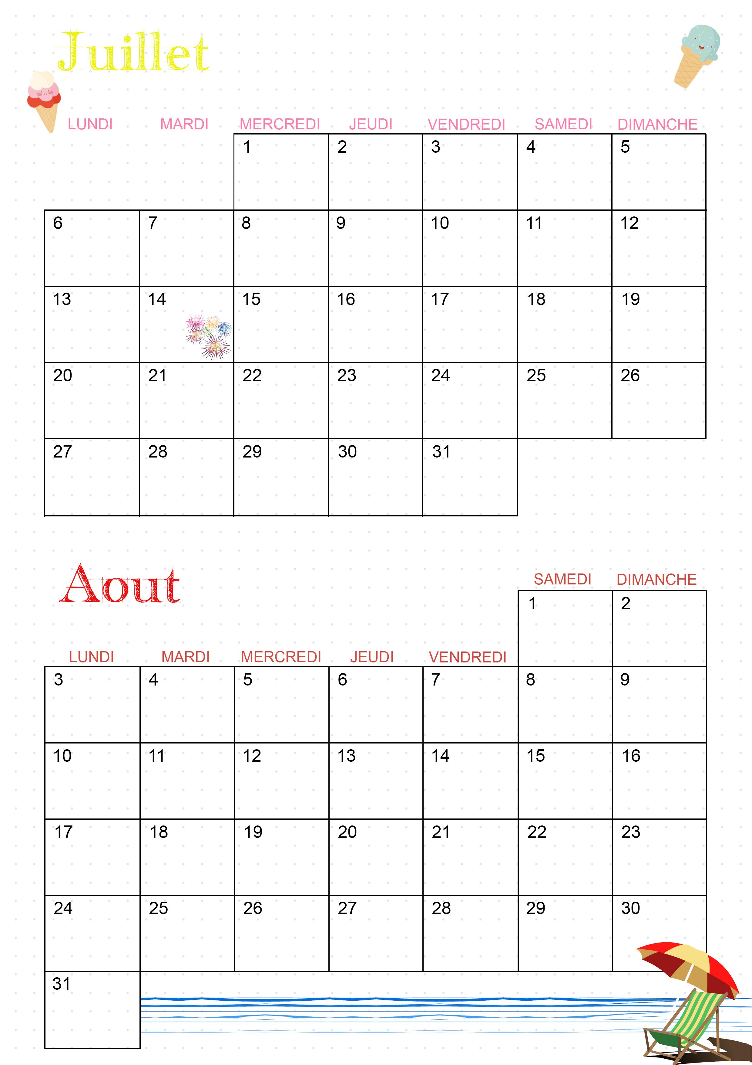 Calendrier 2020 juillet aout