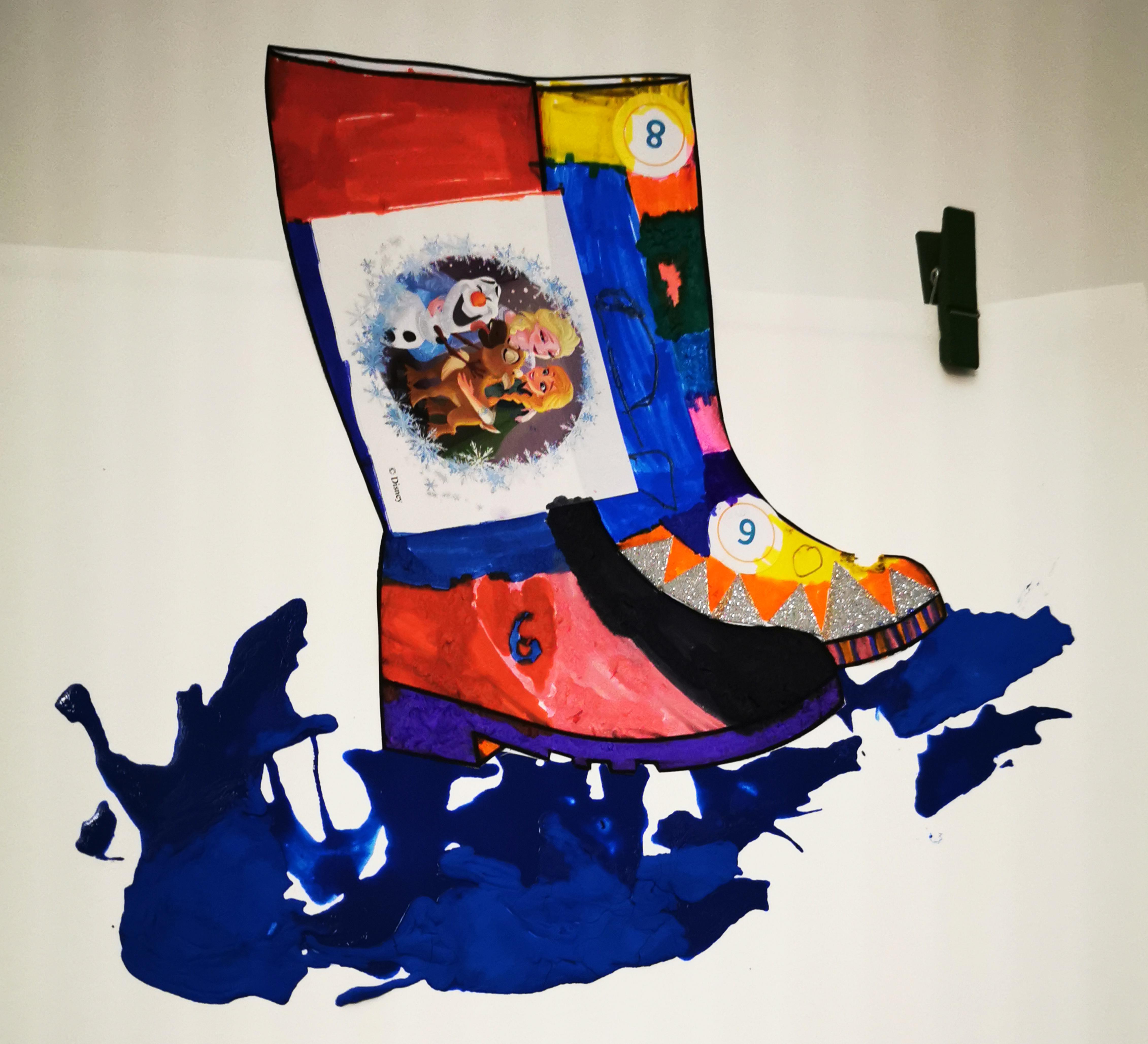 activité splash bottes peinture