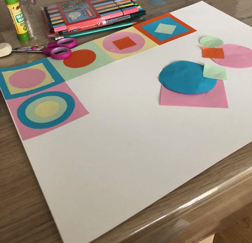 carrés et ronds pour créer un tableau