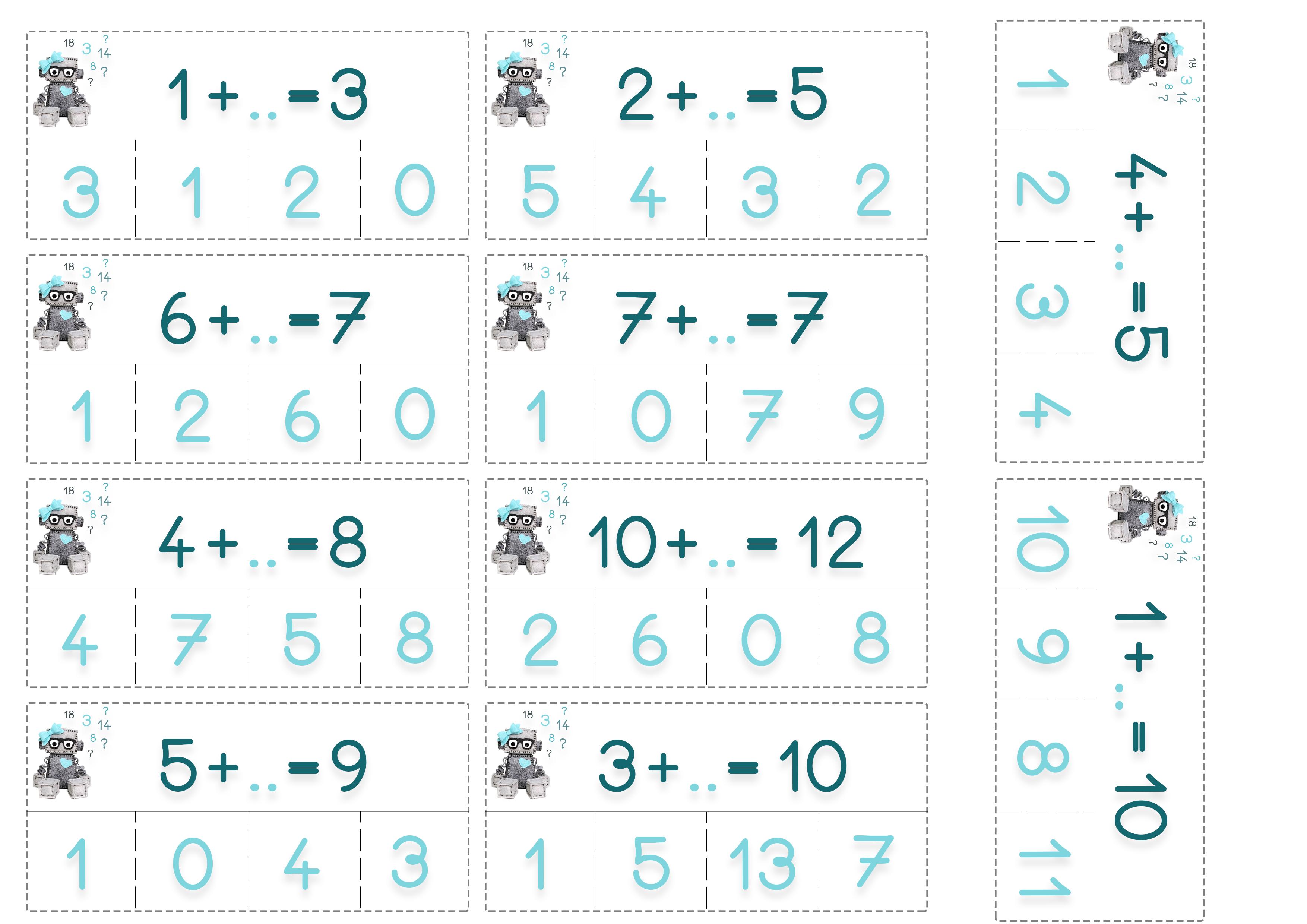 Cartes de calculs feuille 5 autonomes