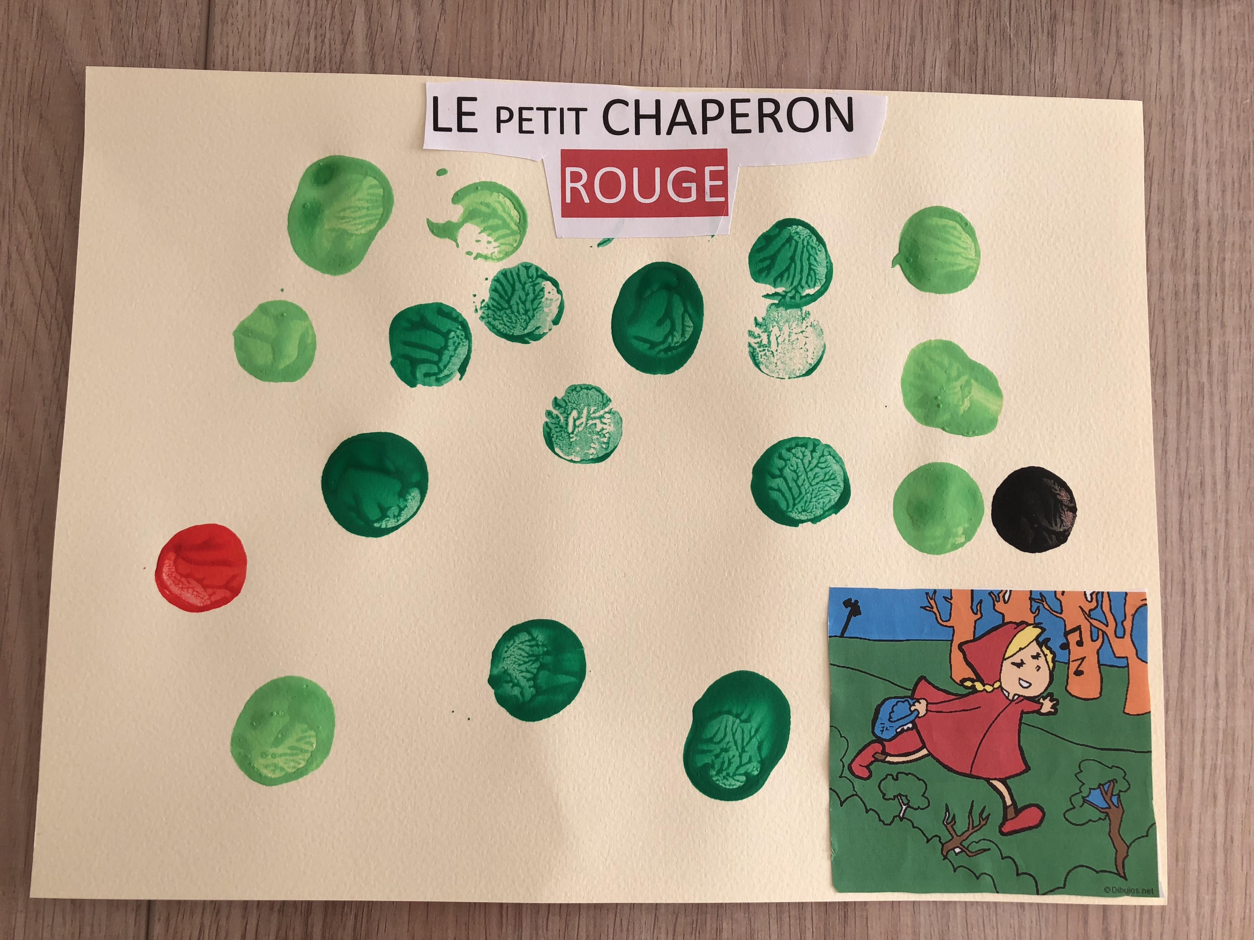 Le petit chaperon rouge couverture peinture bouchons