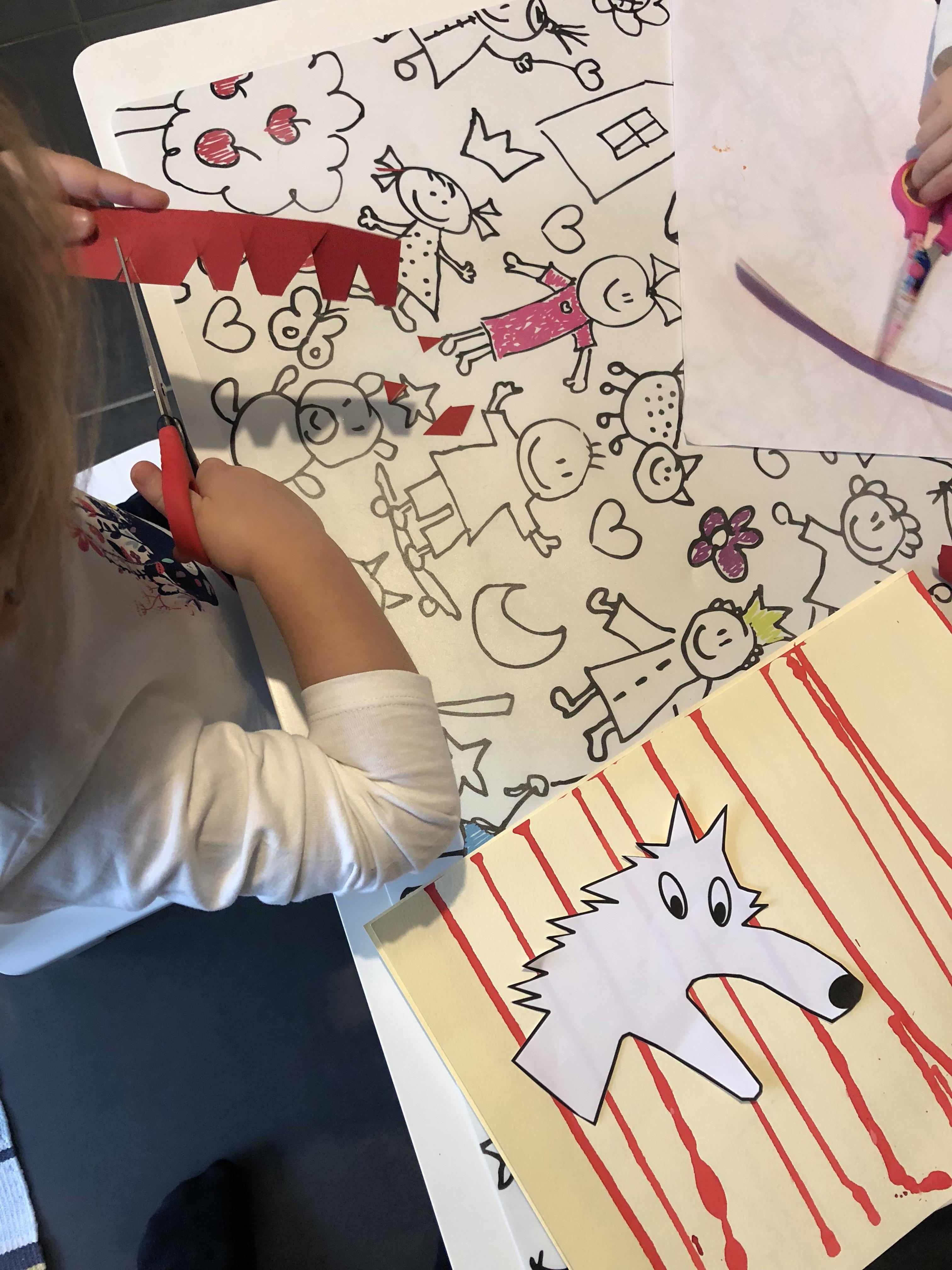 Le petit chaperon rouge peinture loup