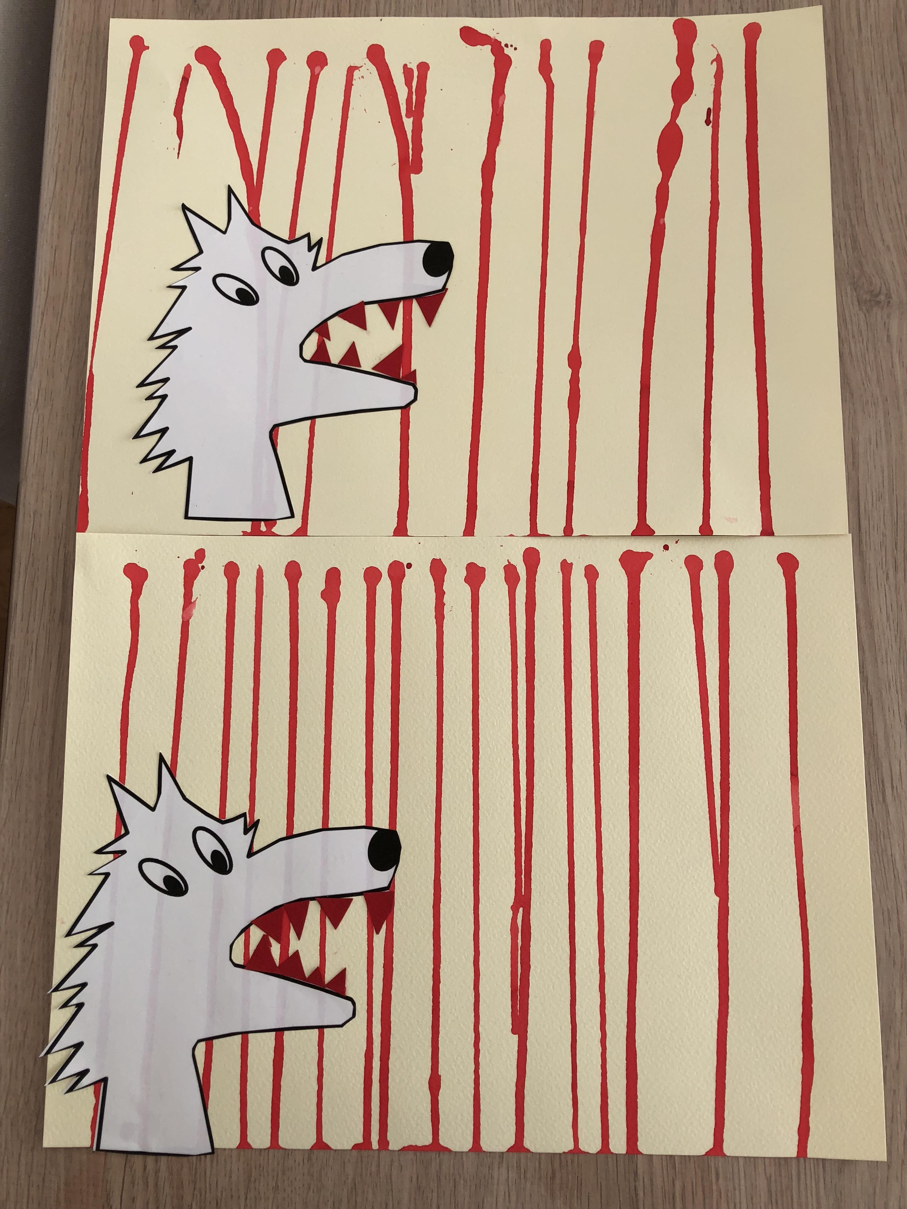 Le petit chaperon rouge loup et traits verticaux