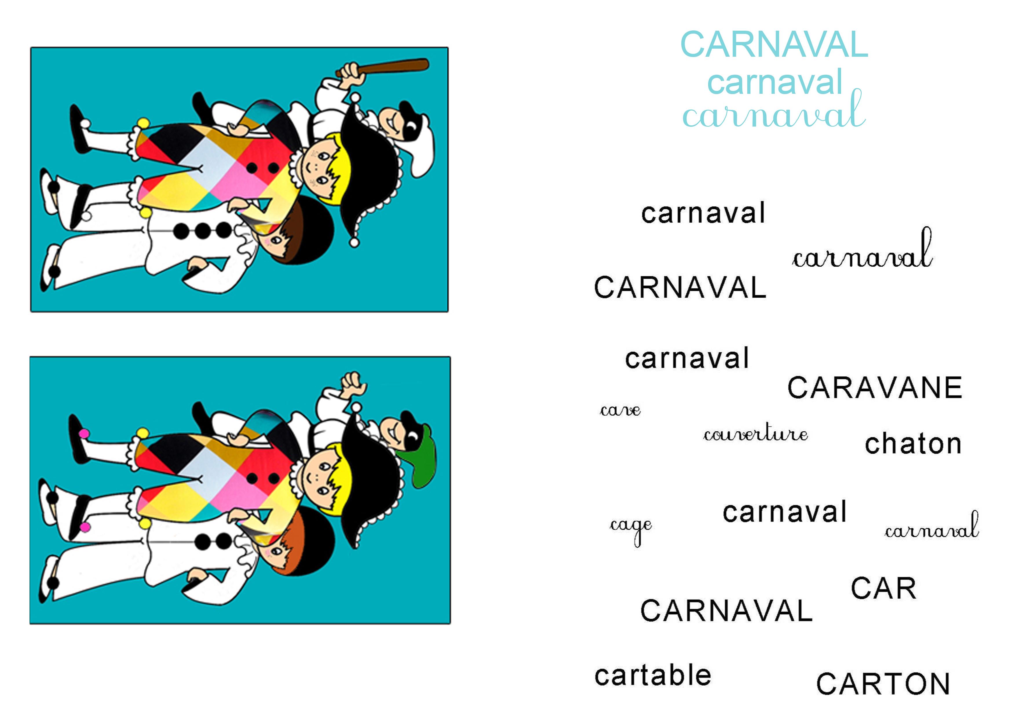 Activités sur le carnaval erreurs et mots