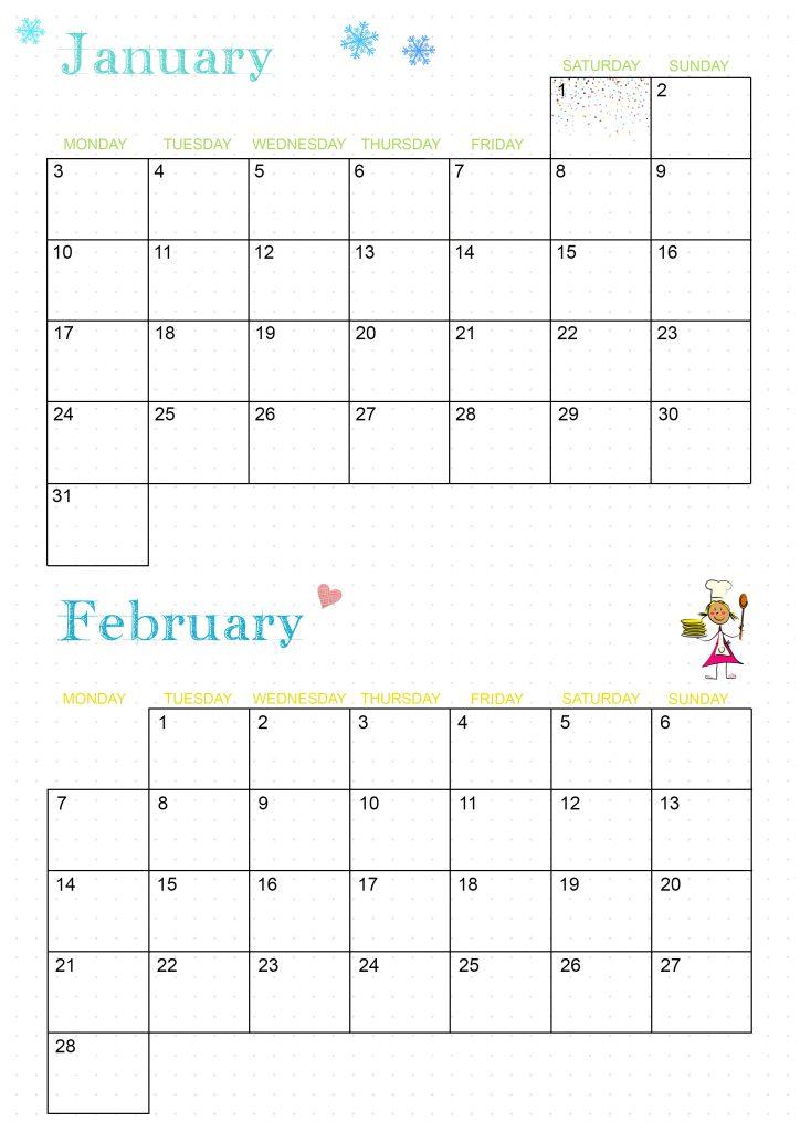calendrier 2022 janvier février