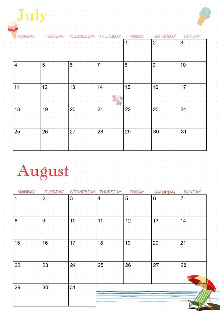 calendrier 2022 juillet aout