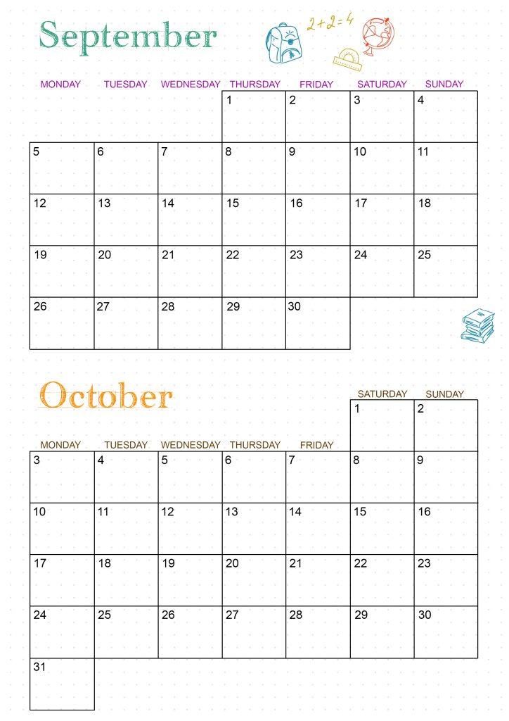 calendrier 2022 septembre octobre