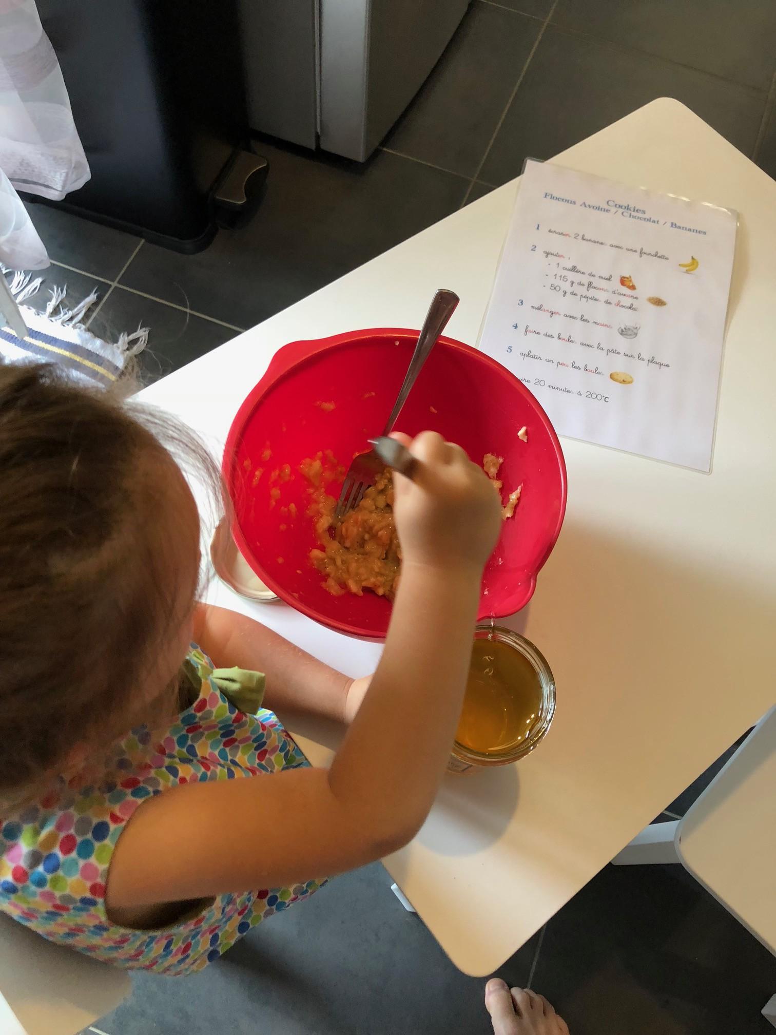 réalisation recette cookies flocons avoine bananes chocolat