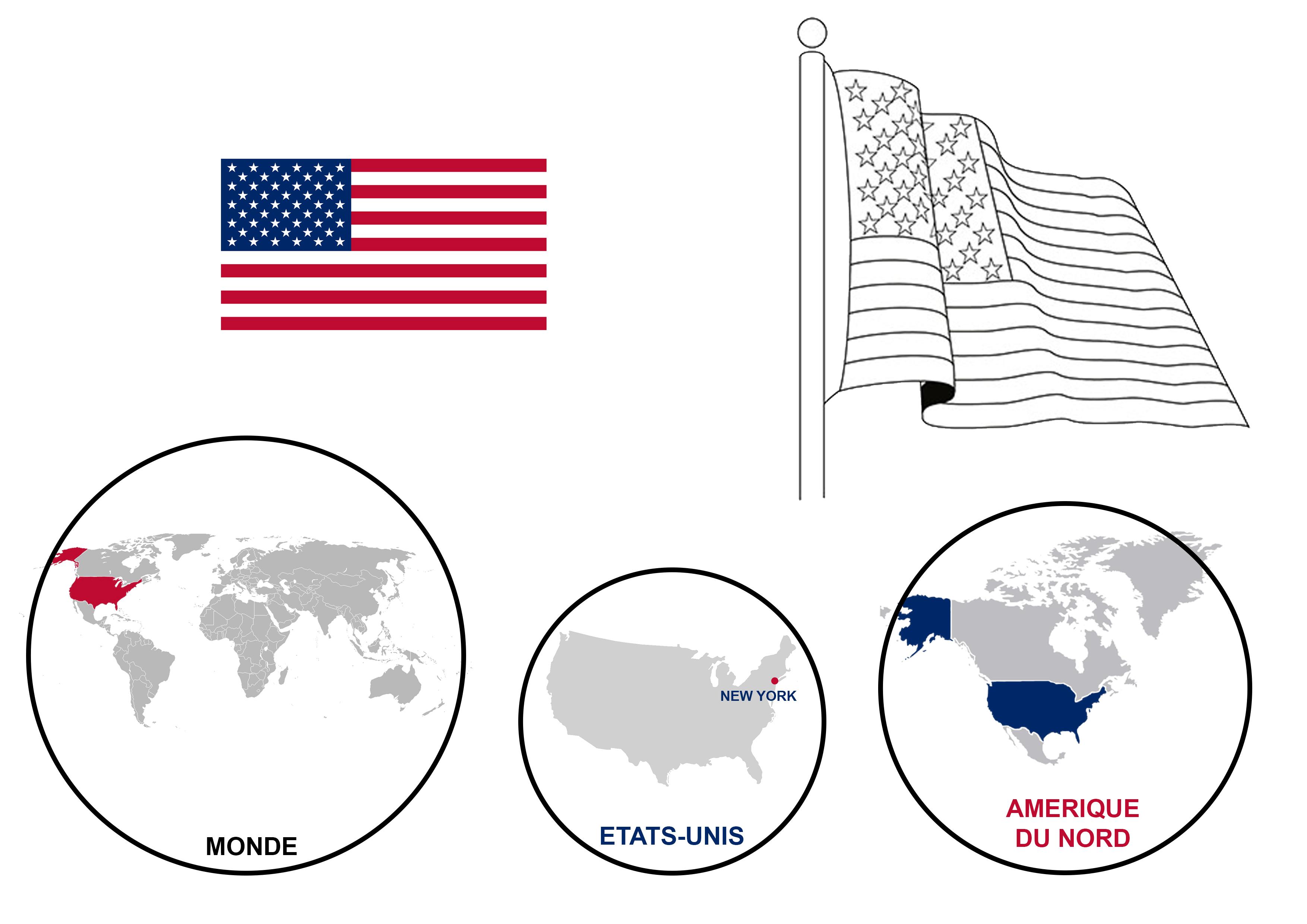 Lapbook USA ief carte monde drapeaux