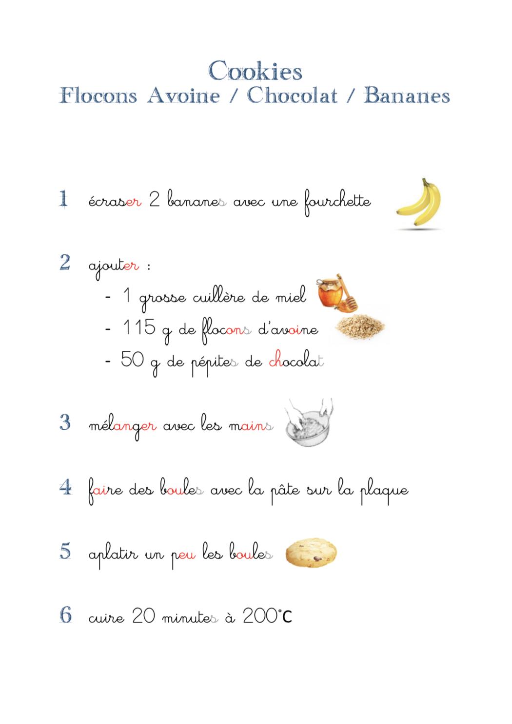 recette cookies avoine bananes chocolat