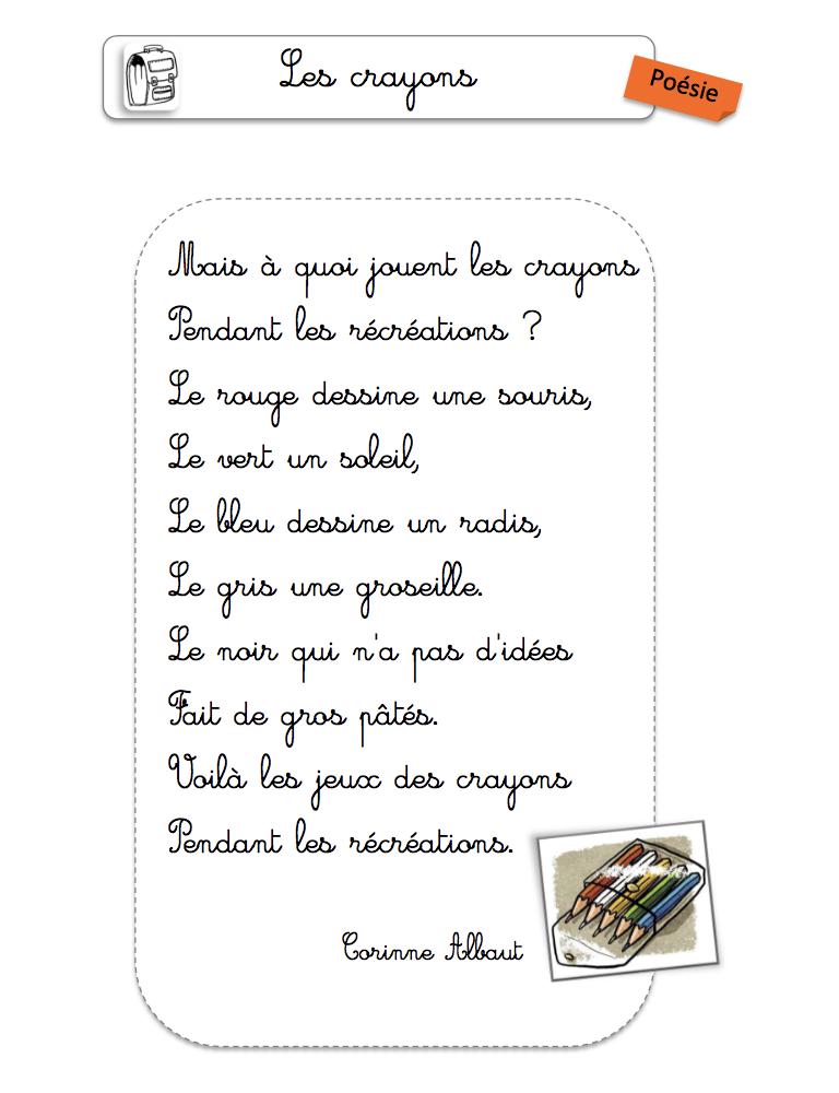 poésie du mois de septembre rentrée scolaire