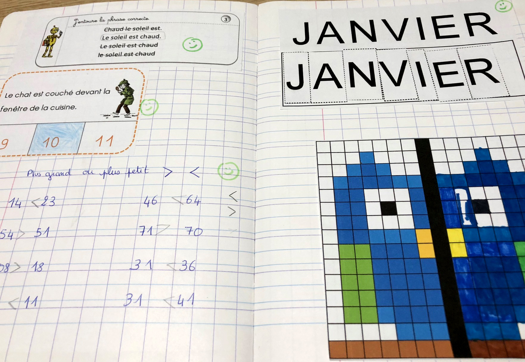 exercices pour janvier cahier exemples