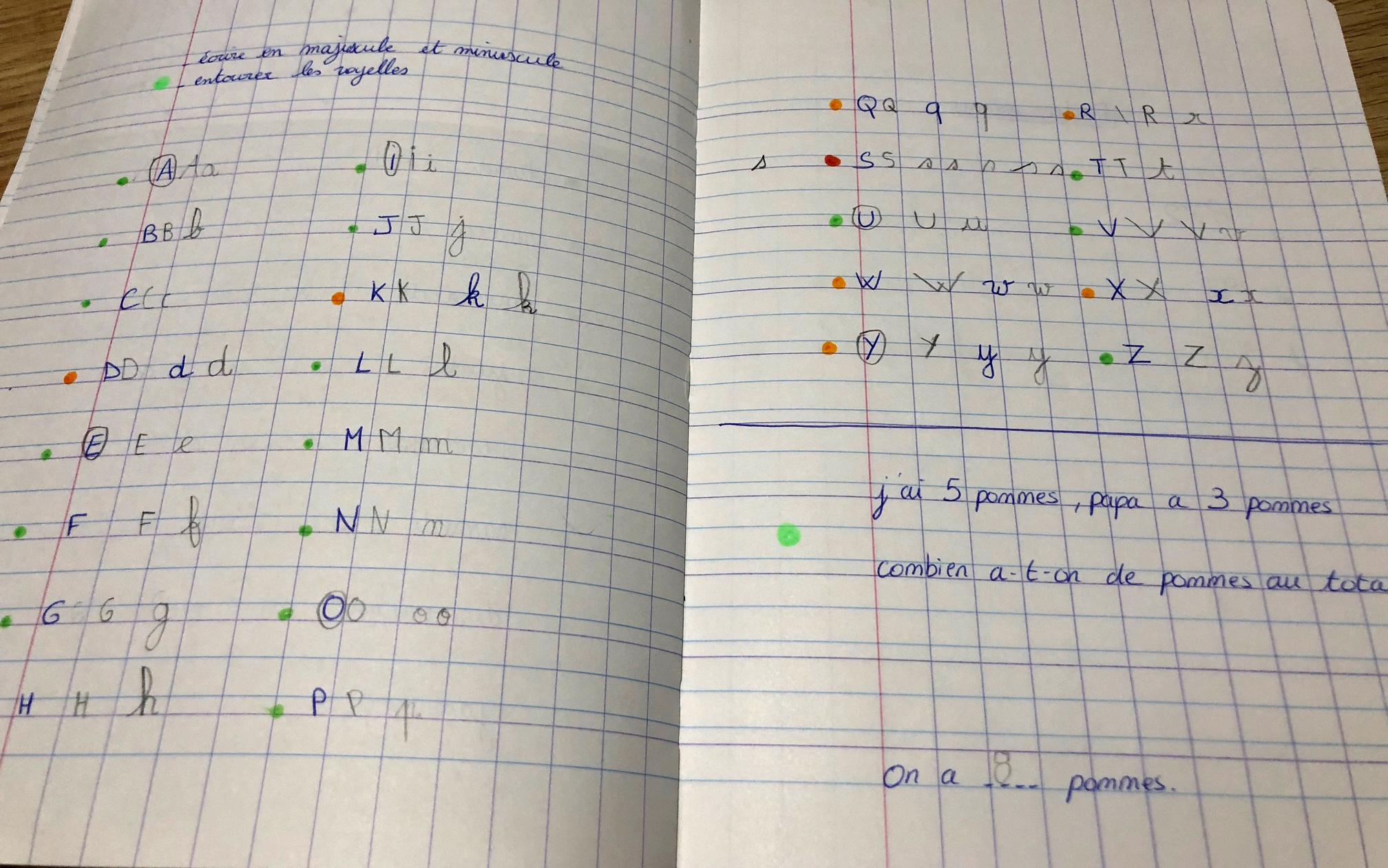 cahier exercices pour janvier