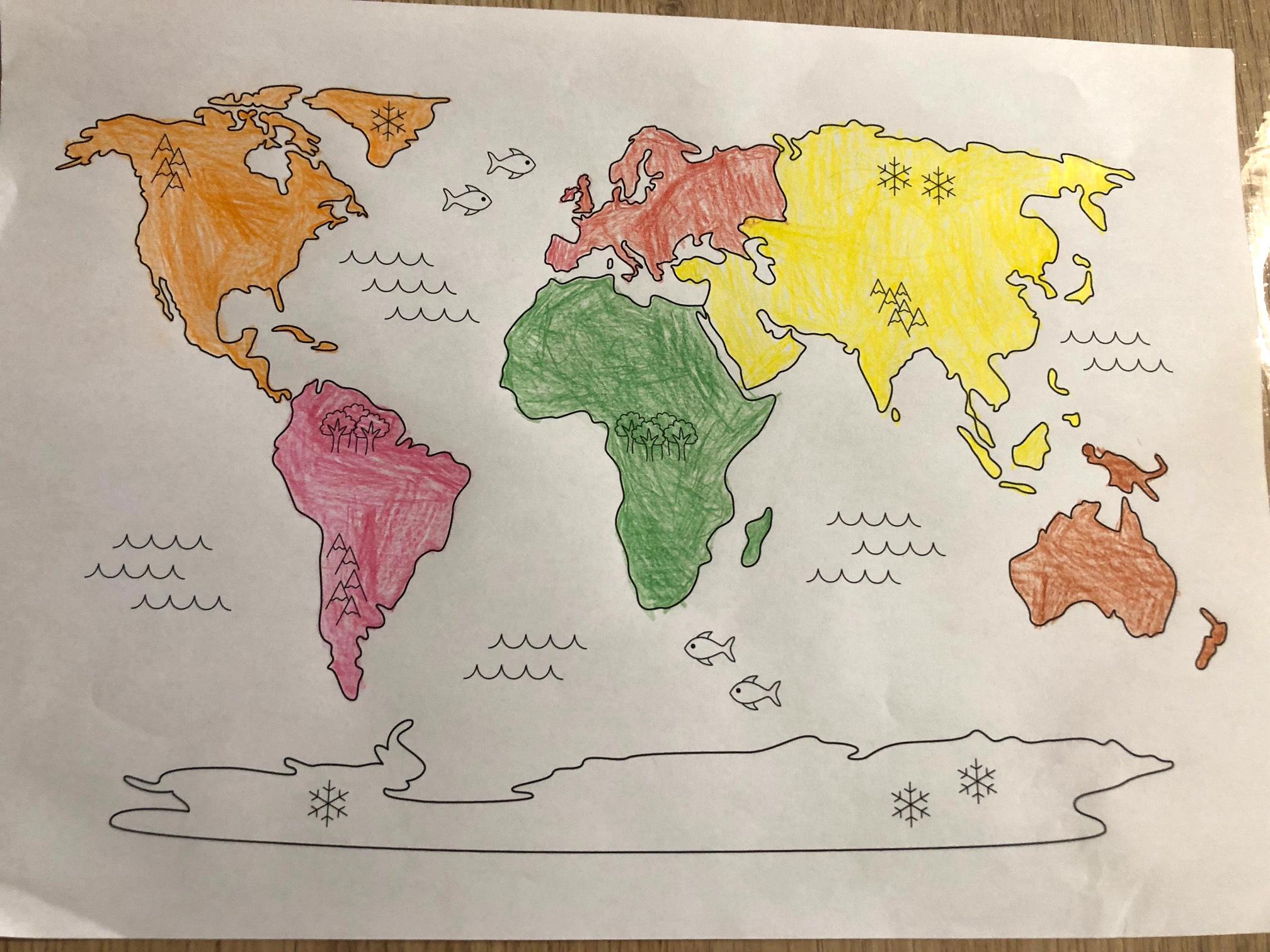Planisphère à colorier les continents