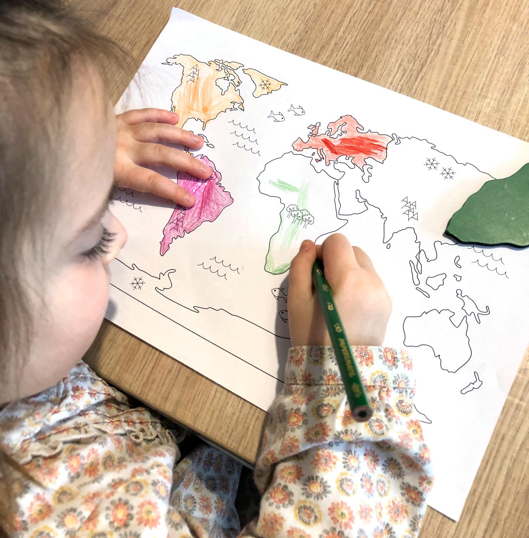 Planisphère à colorier les continents et les océans maternelle primaire apprentissage