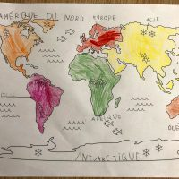 Planisphère à colorier les continents instruction en famille