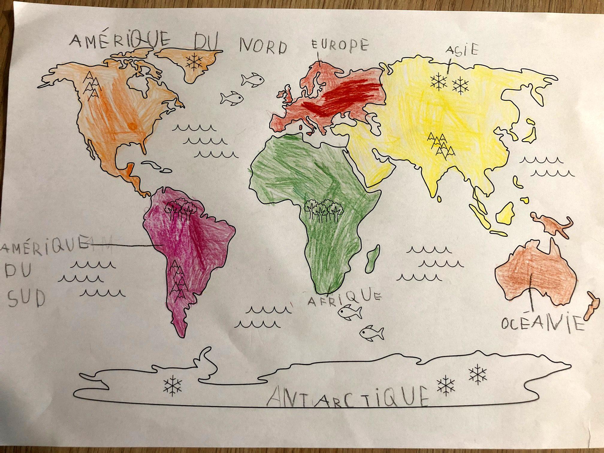 Planisphère à colorier les continents instruction en famille