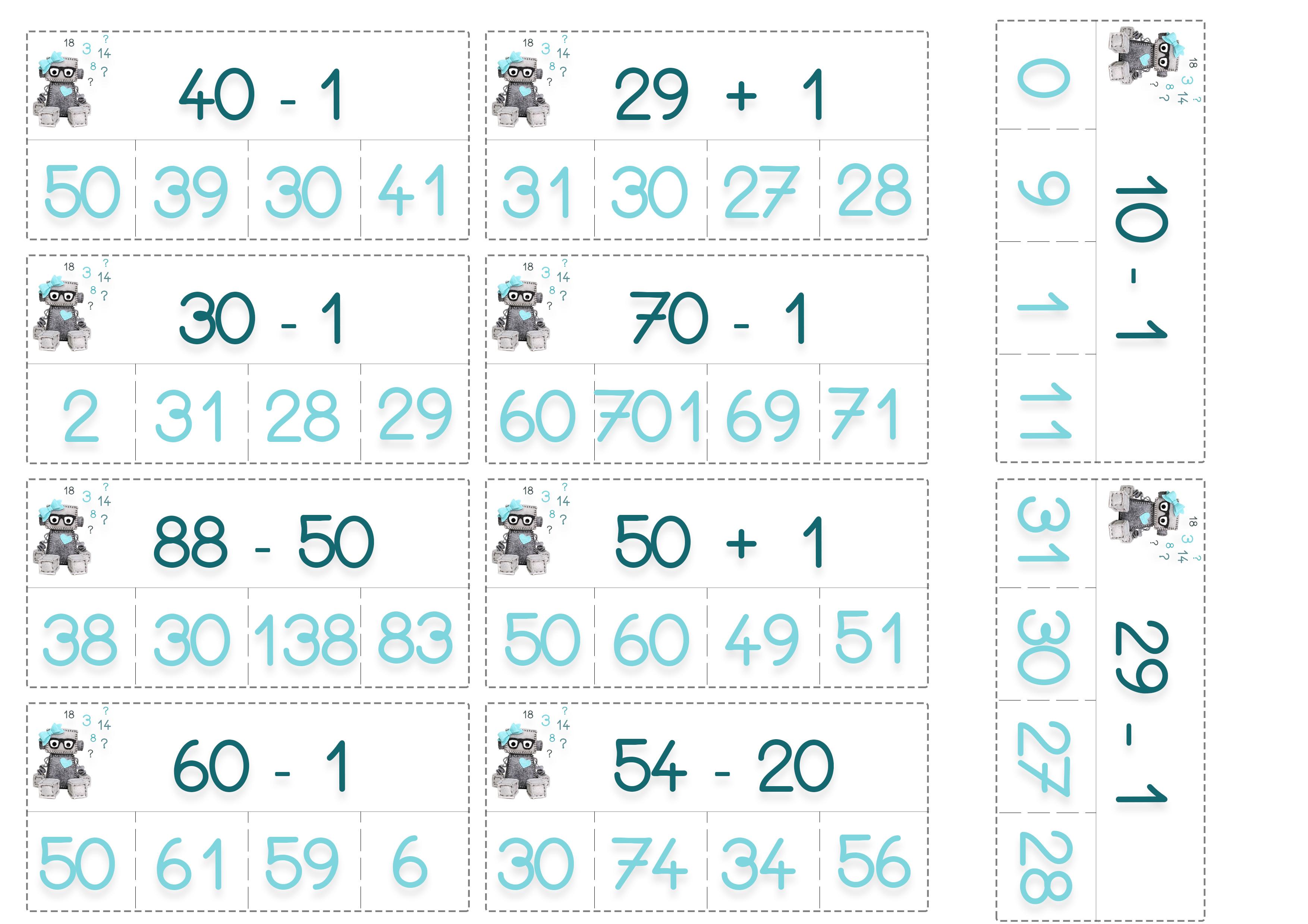 cartes à pinces calculs mathématiques primaire
