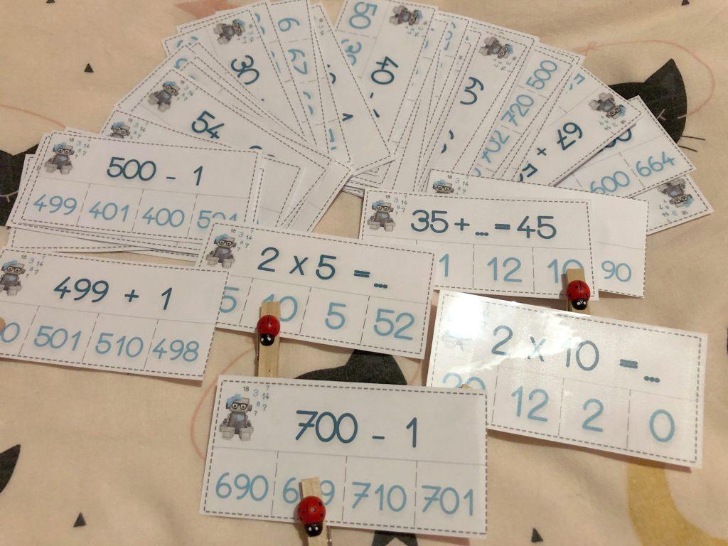 les cartes a pinces calculs