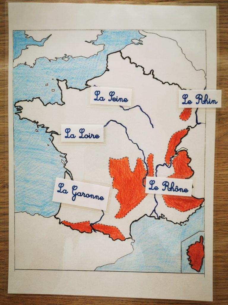 carte de France des fleuves et montagnes