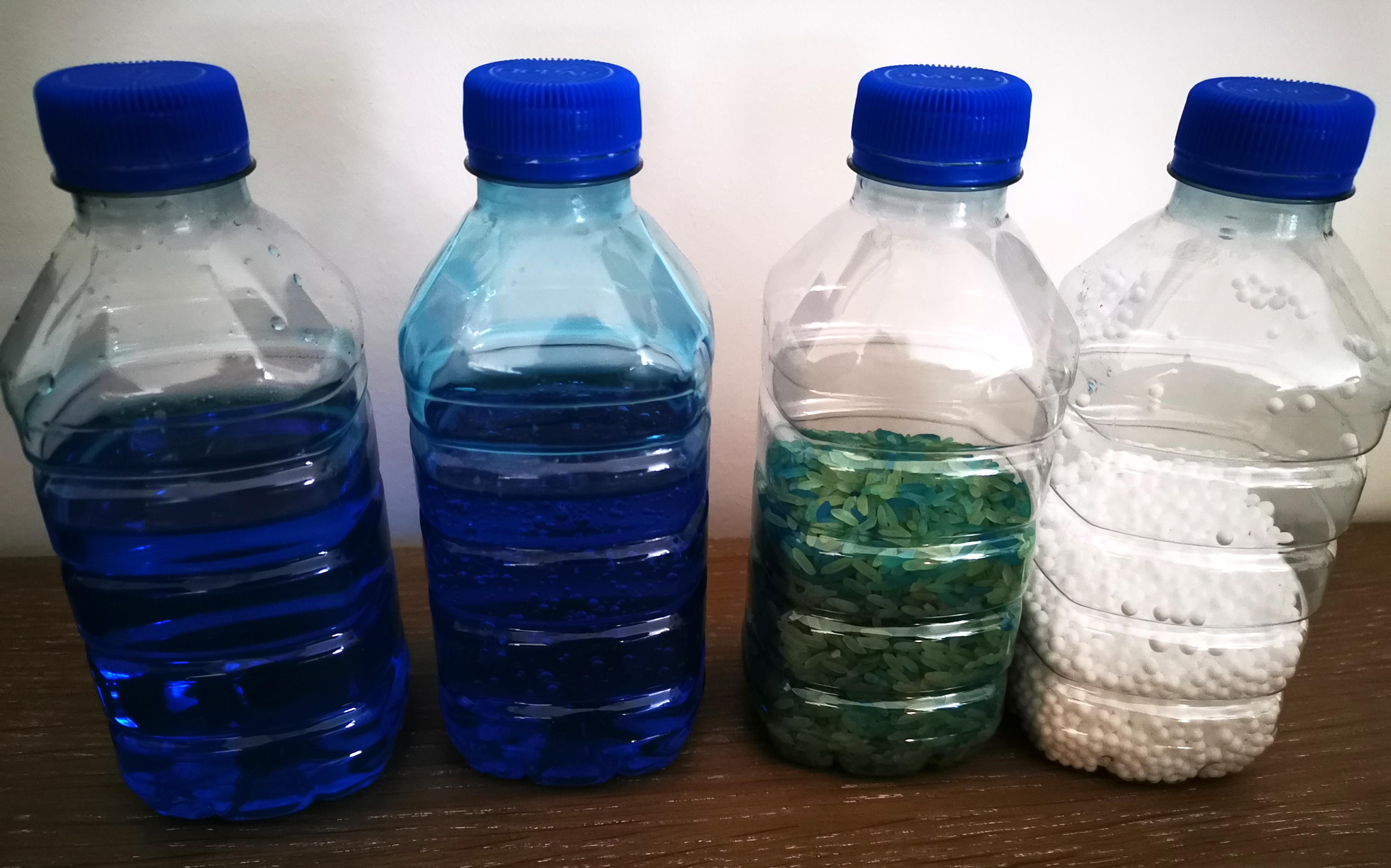 bouteille sensorielle riz eau colorant éveil