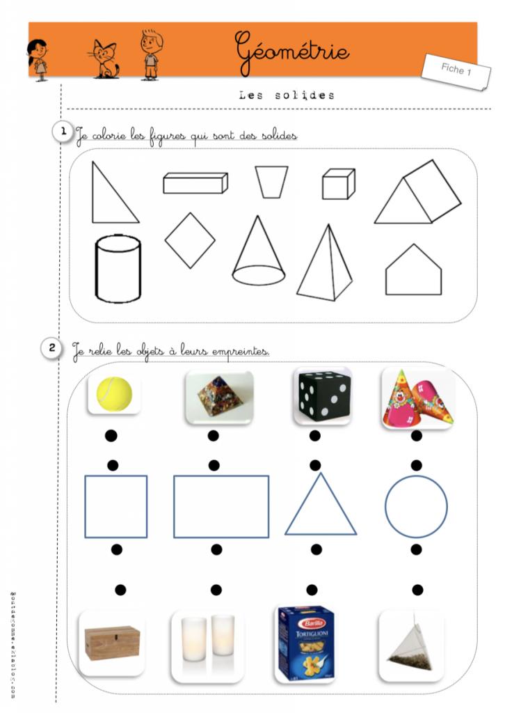 les formes géométriques exercices les solides